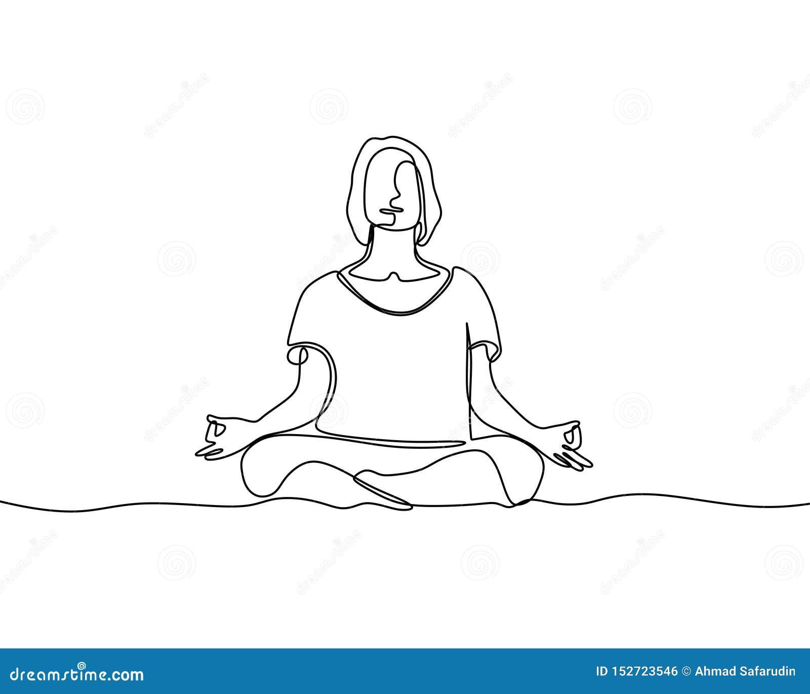 Frau, die ununterbrochene Linie Vektorillustrations-Minimalismusart der Yogaübung tut