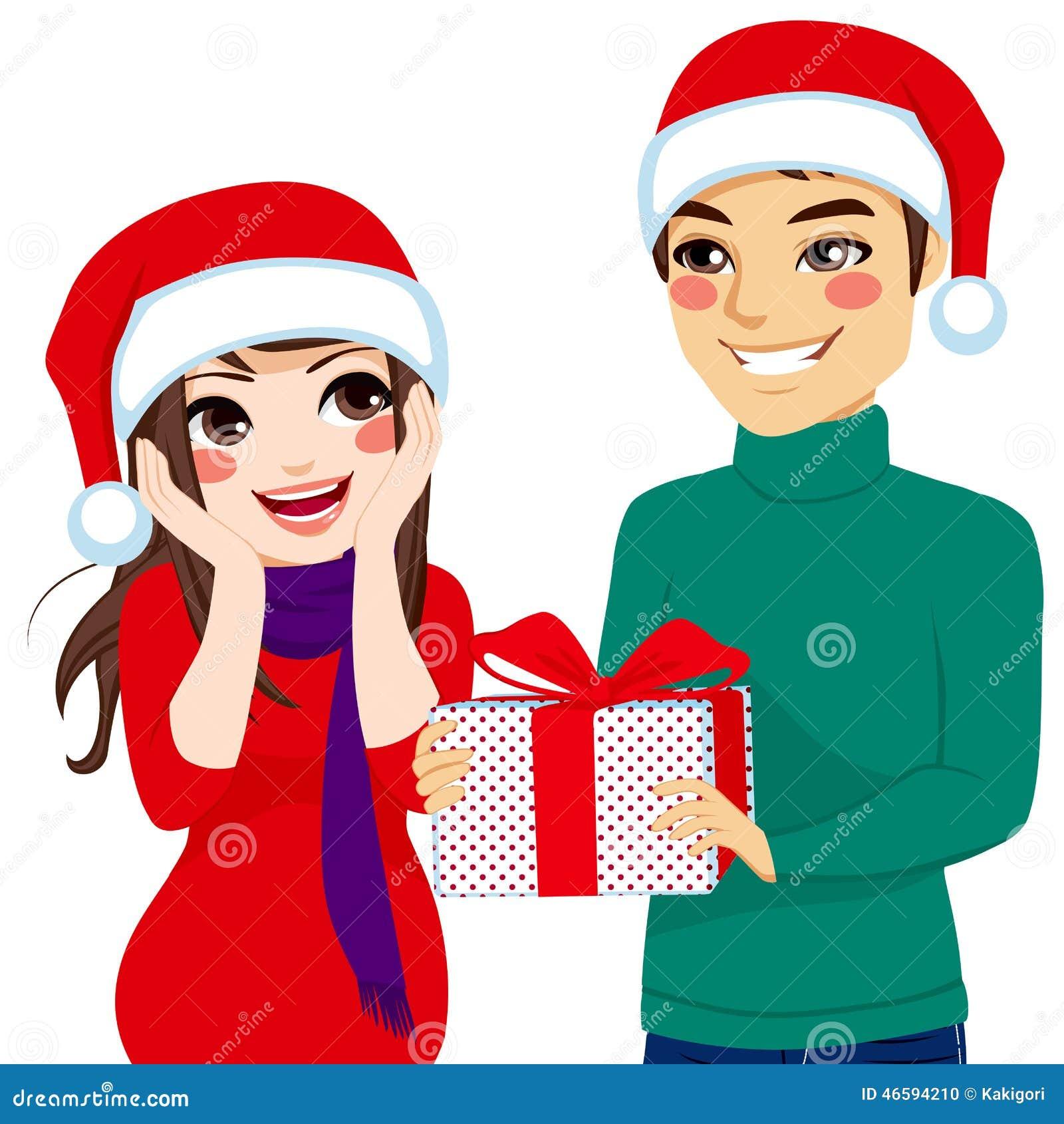 Frau, Die Weihnachtsgeschenk Empfängt Vektor Abbildung ...
