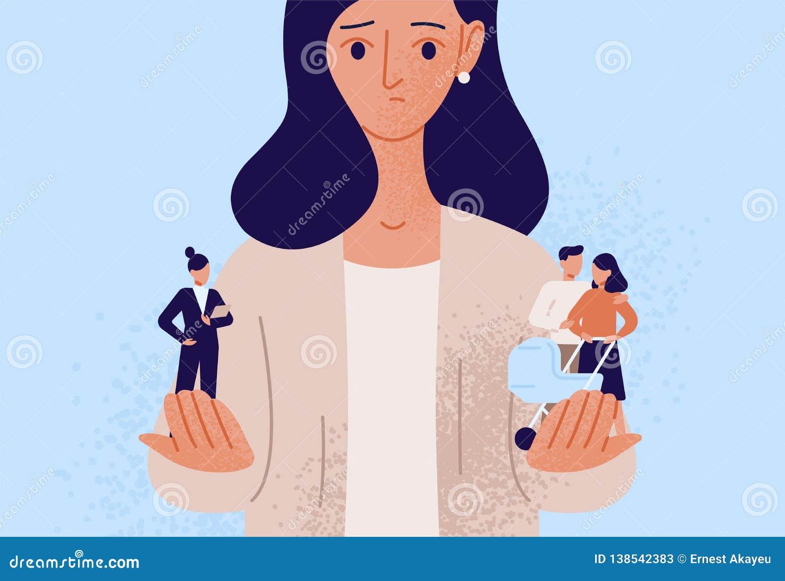 Frau, die zwischen Familien- oder Elternteilverantwortung und Karriere oder Berufserfolg wählt Schwierige Wahl, Leben