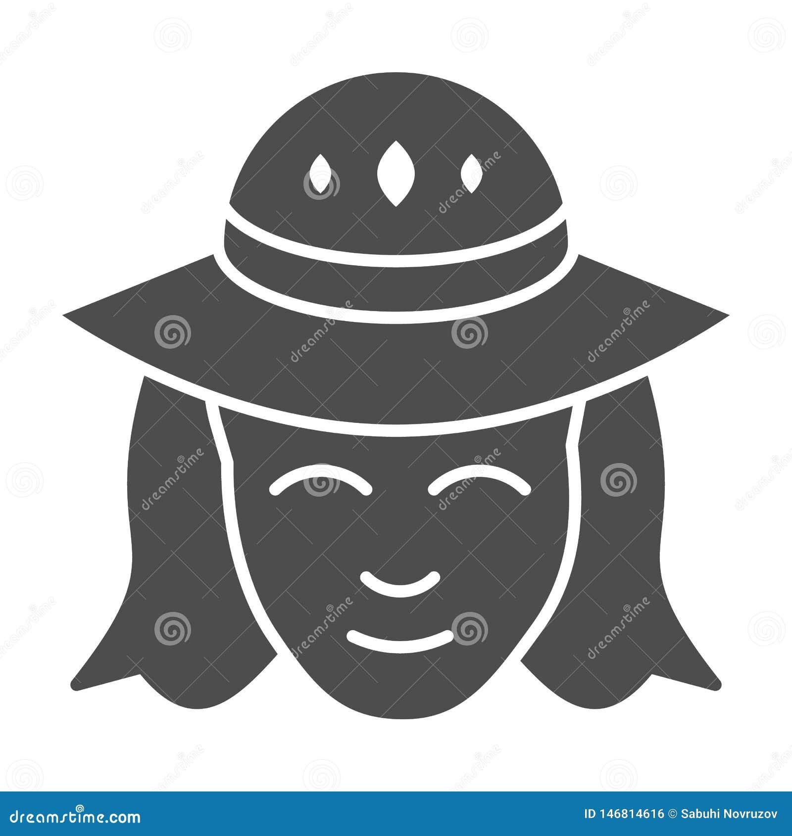 Frau in einer festen Ikone des Hutes M?dchen mit der Hutvektorillustration lokalisiert auf Wei? Weiblicher Gesicht Glyph-Artentwu