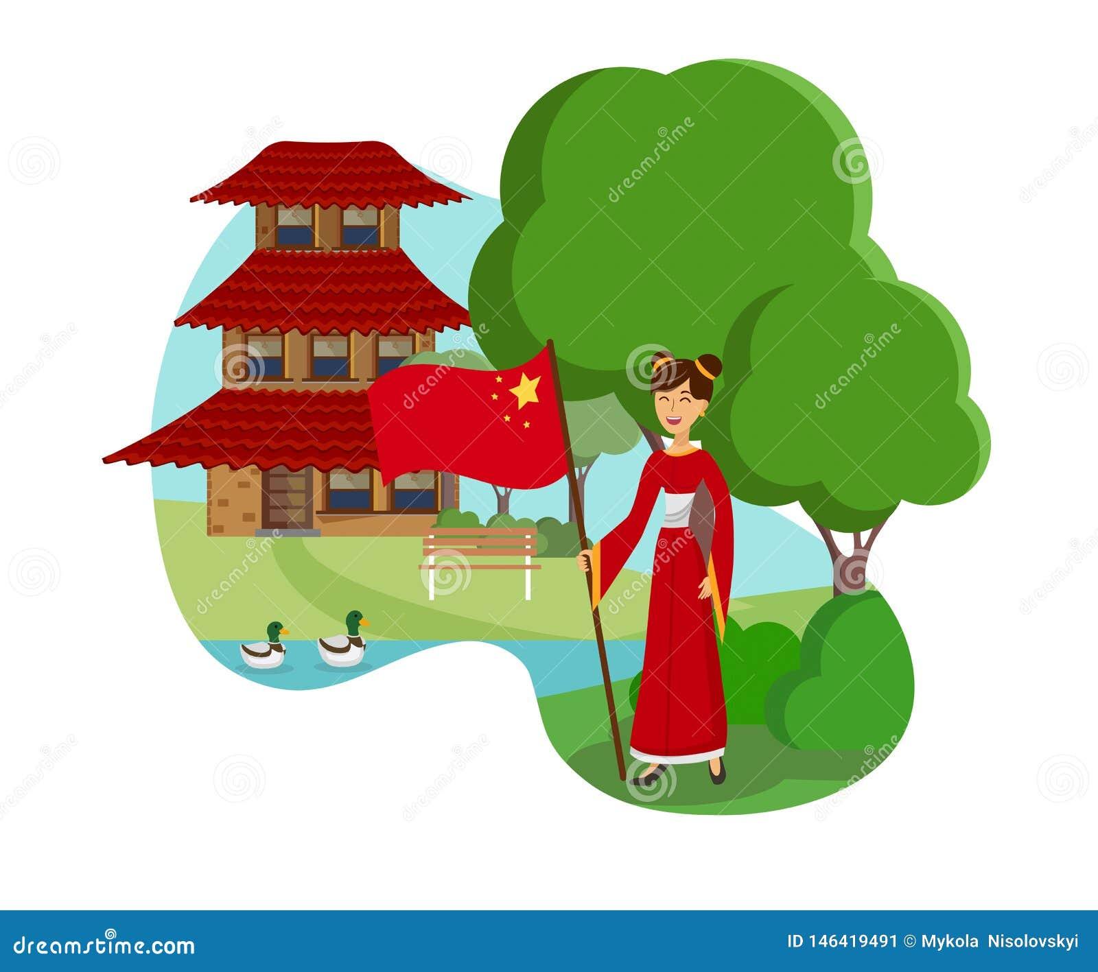 Frau Farbvektor-Illustration Chinas von der flachen