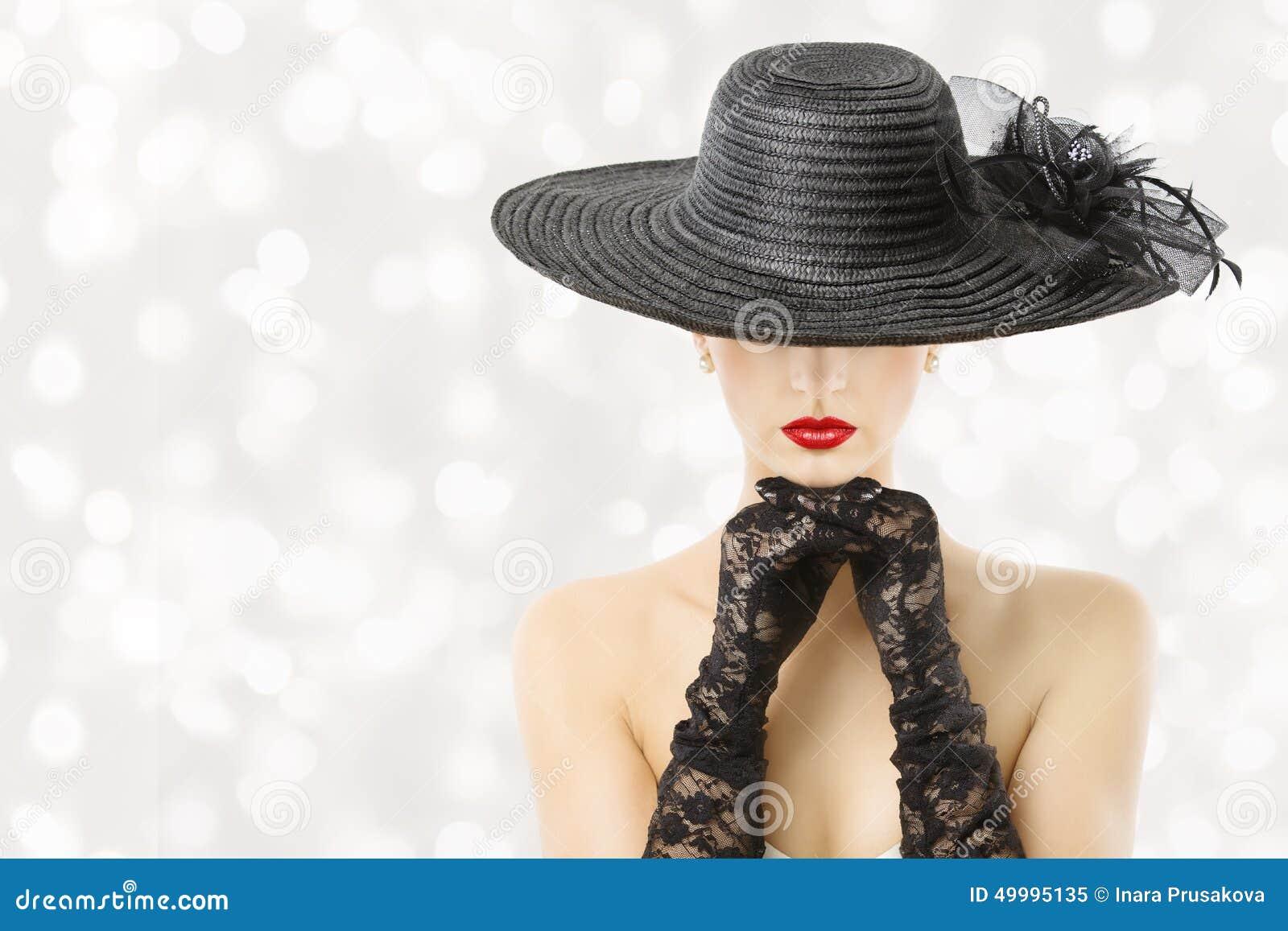 Frau im Hut und in den Handschuhen, Mode-Modell Beauty Portrait, Mädchen verstecktes Gesicht, rote Lippen