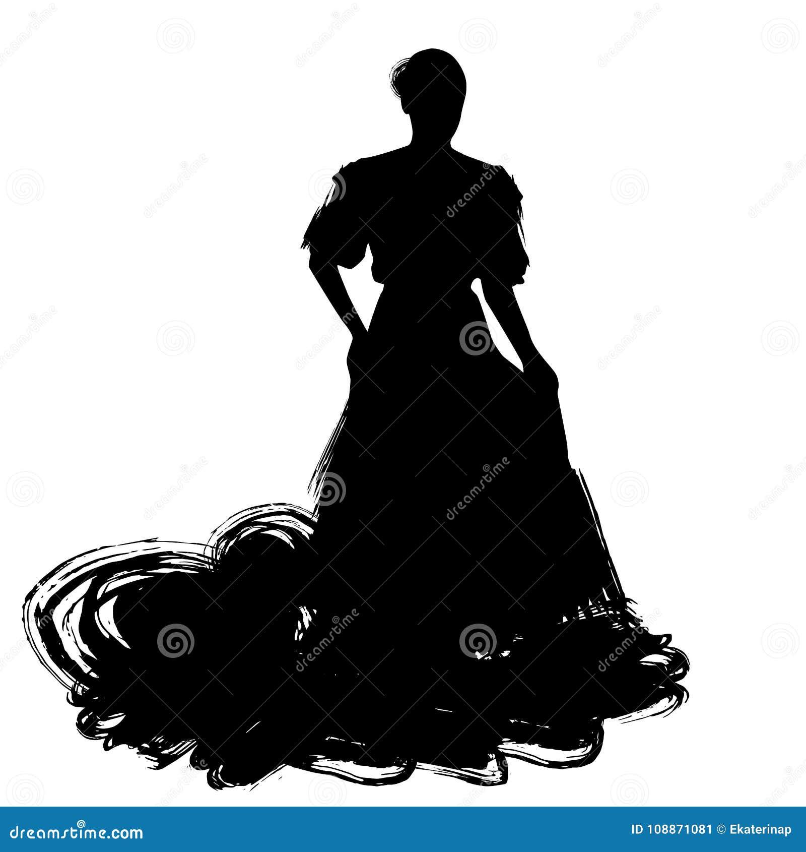 Frau im langen Kleideraufenthalt in der Tanzenhaltung Flamencotänzer Spanish-Regionen von Andalusien, Extremadura Murcia schwarze