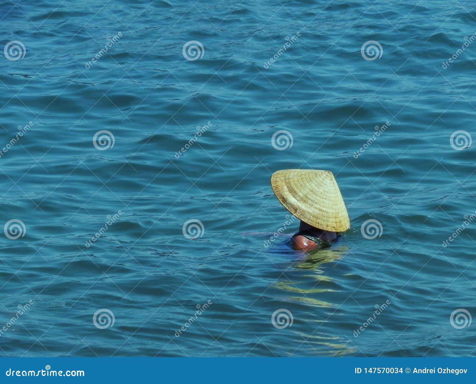 Frau im vietnamesischen Hut