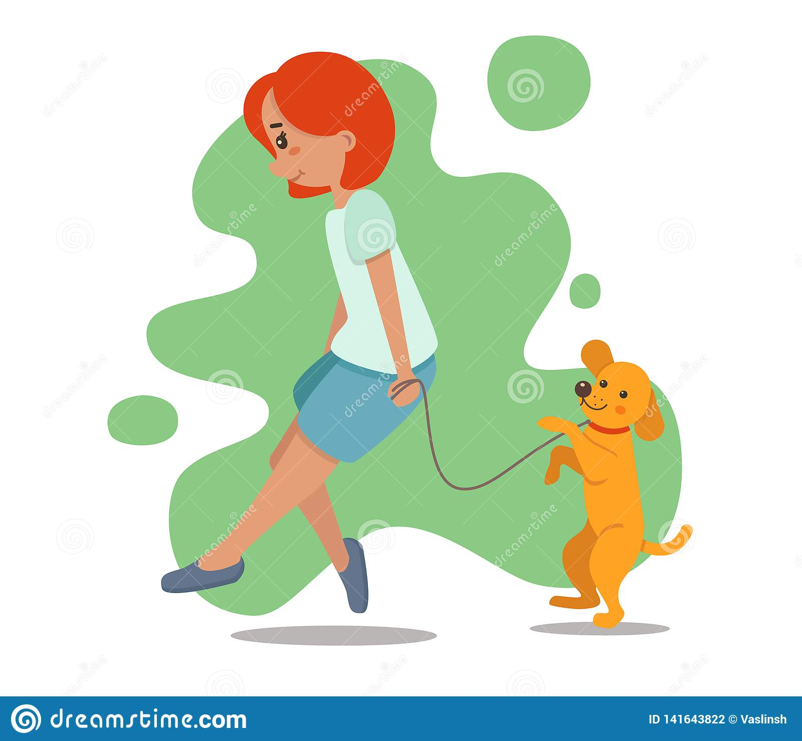 Frau, Mädchen, das mit Hund geht Retriever, Labrador