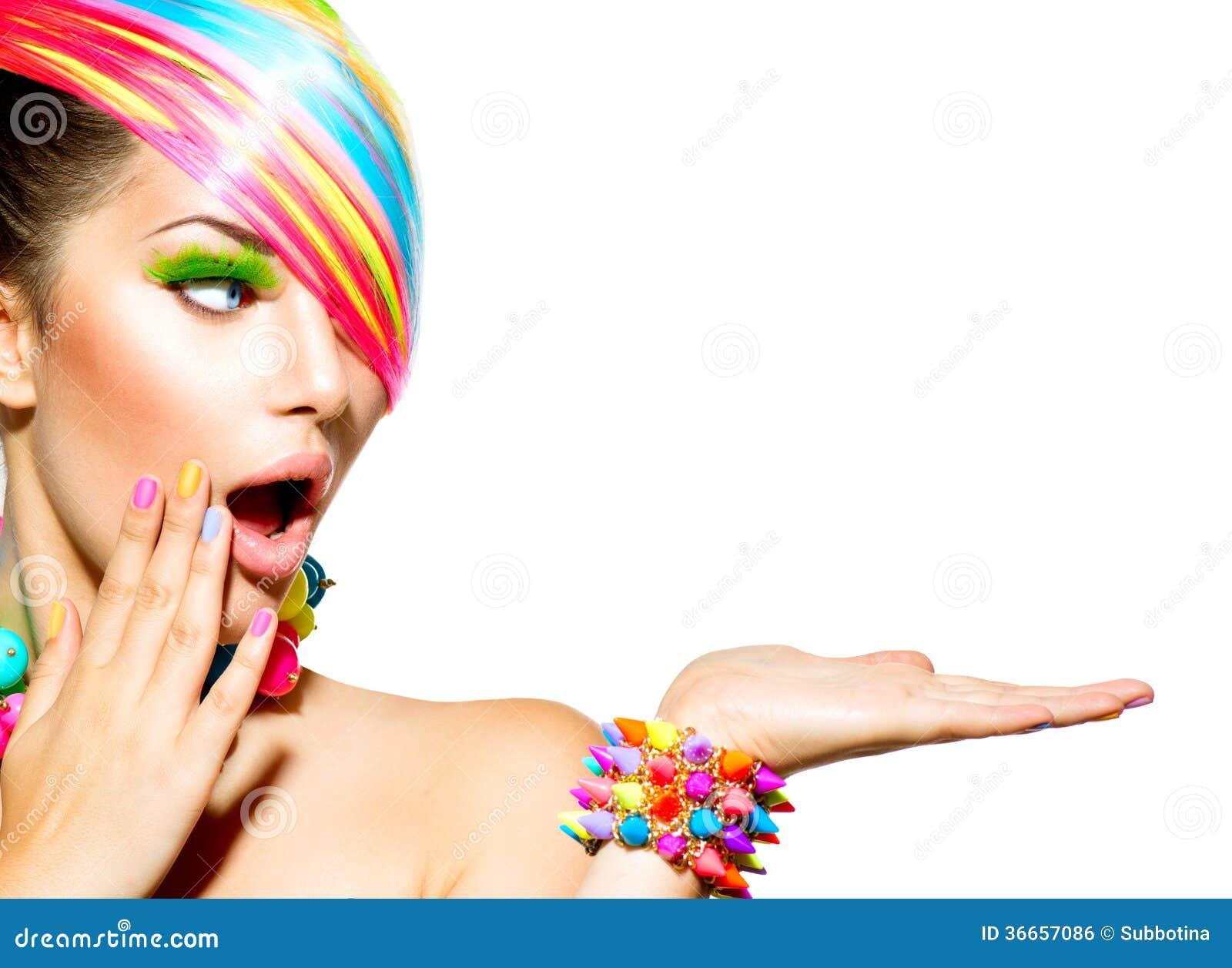 Frau mit buntem Make-up