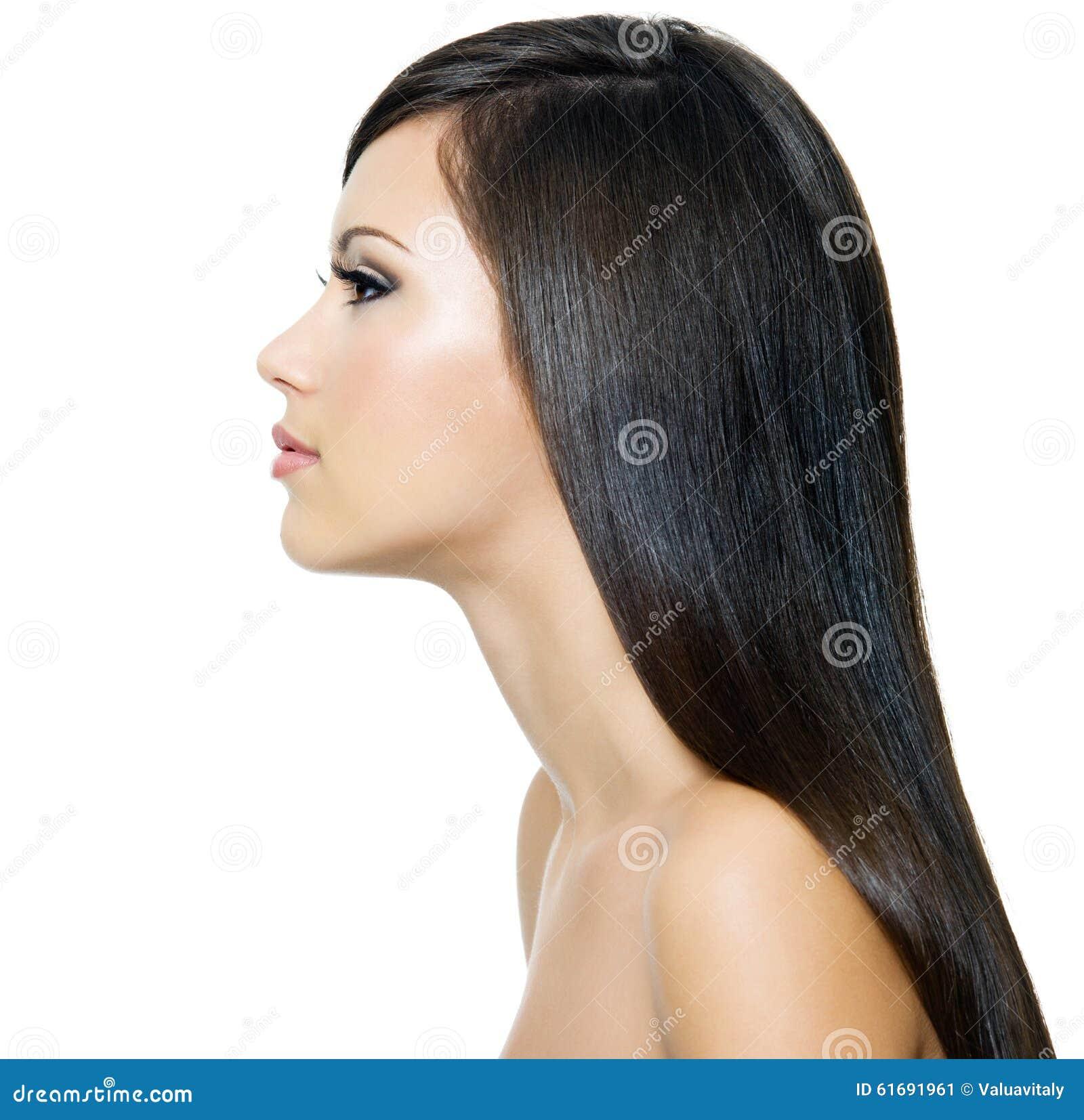 Frau Mit Gelbem Haar: Frau Mit Dem Langen Gesunden Braunen Haar Stockbild