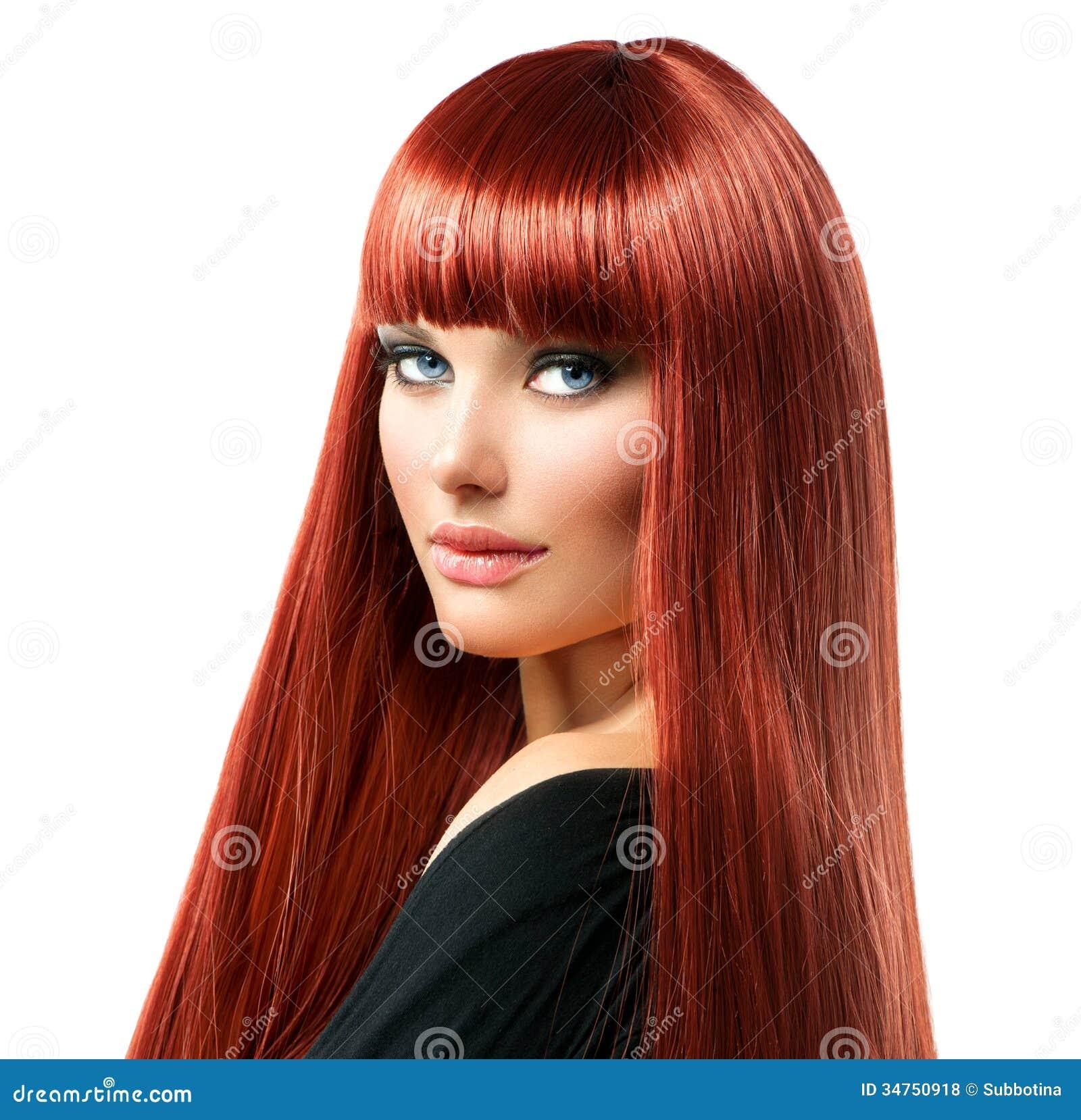 Frau Mit Gelbem Haar: Frau Mit Dem Langen Roten Haar Stockfoto