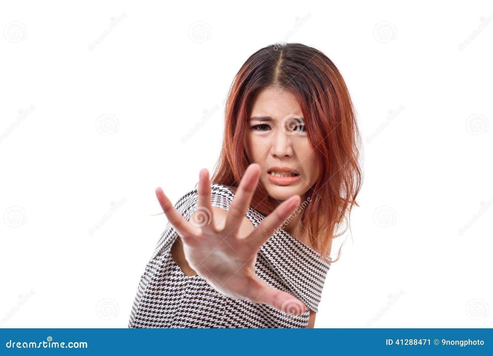 Frau mit extrem ängstlichem Stimmungsvertretungshalt, Ausschuss, Abfall