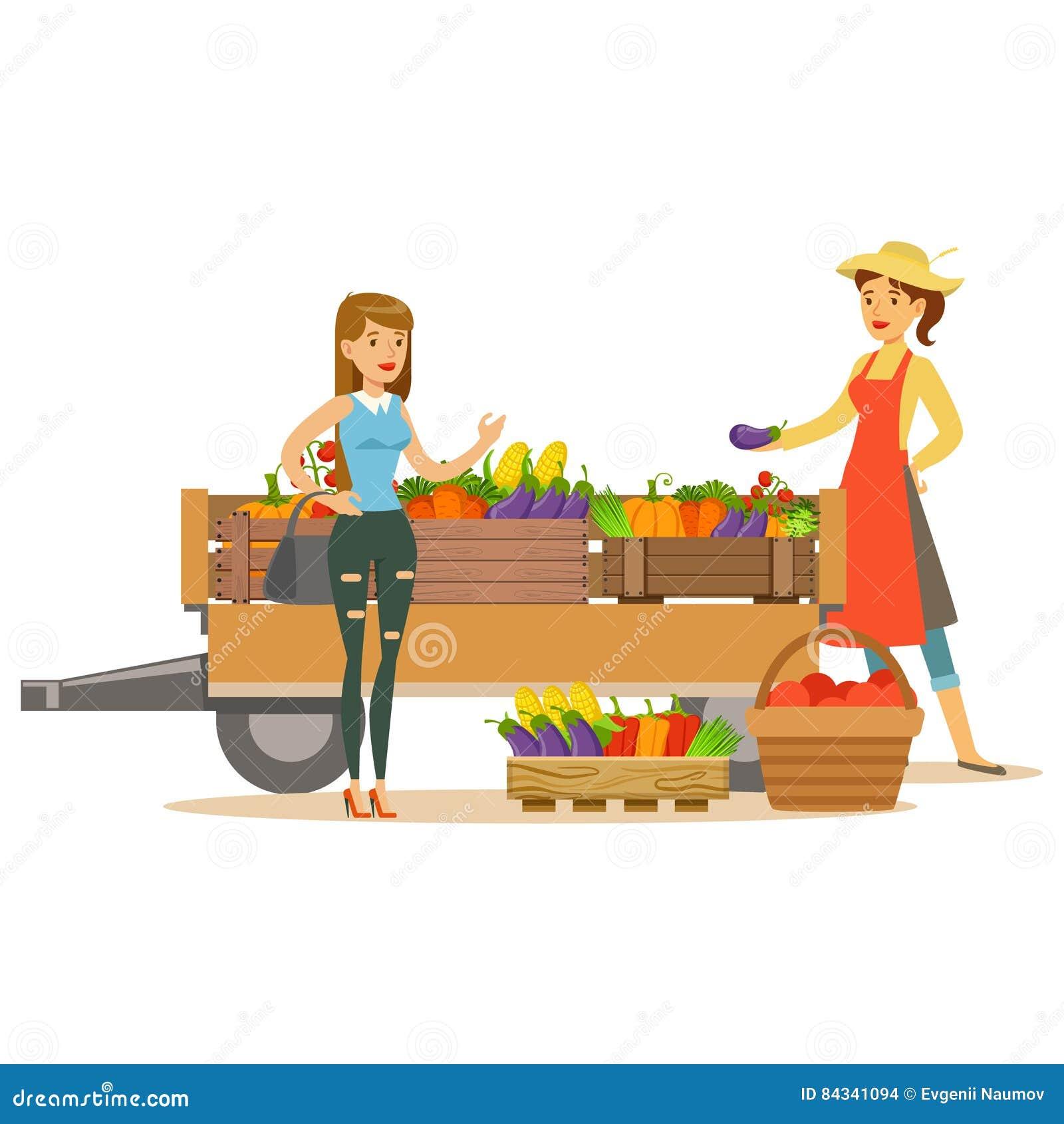 Frau Mit Hölzernem Warenkorb Mit Gemüse Und Kunden, Landwirt-Working ...