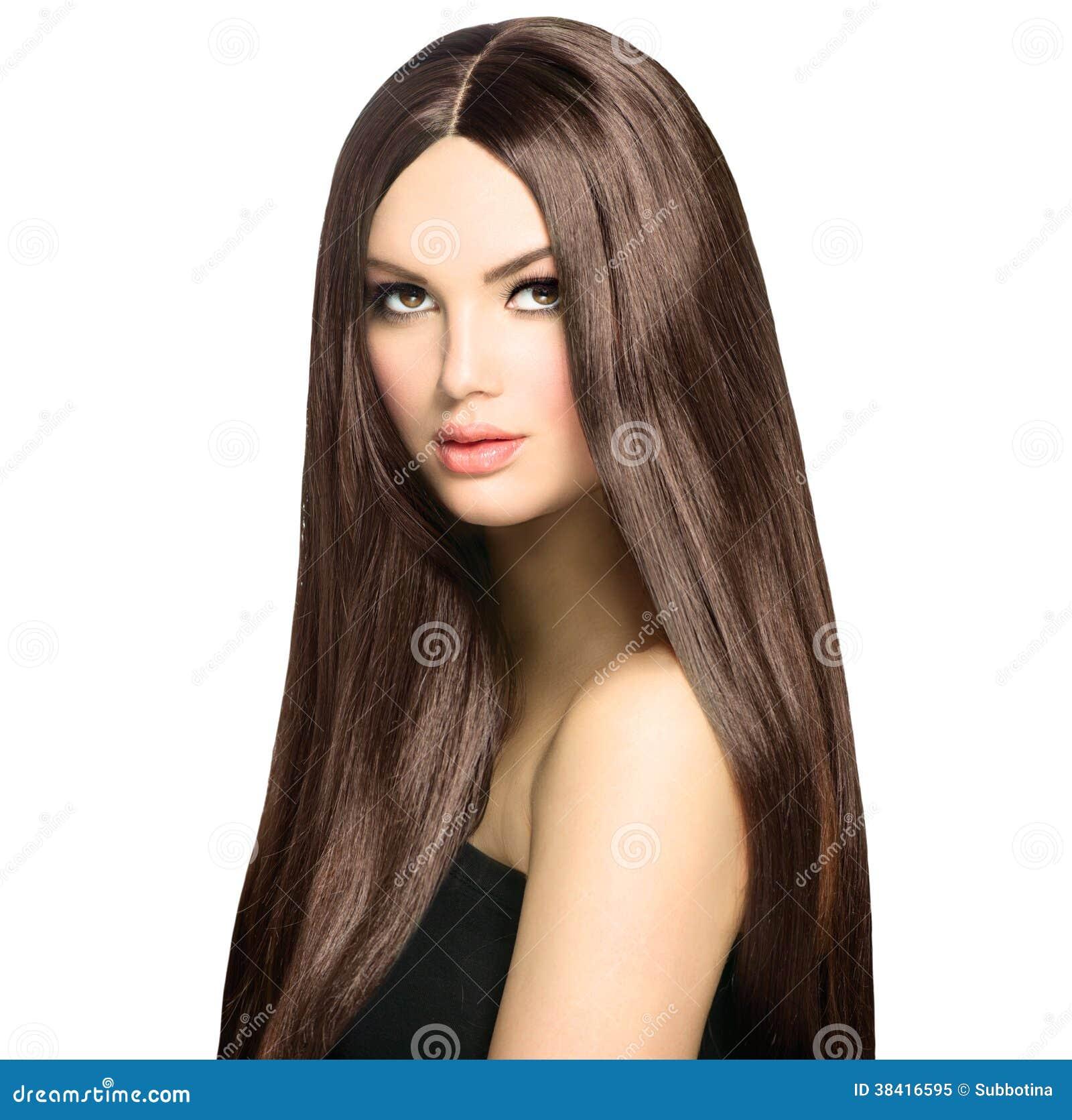 Frau Mit Gelbem Haar: Frau Mit Langem Brown-Haar Stockbild. Bild Von Luxuriös