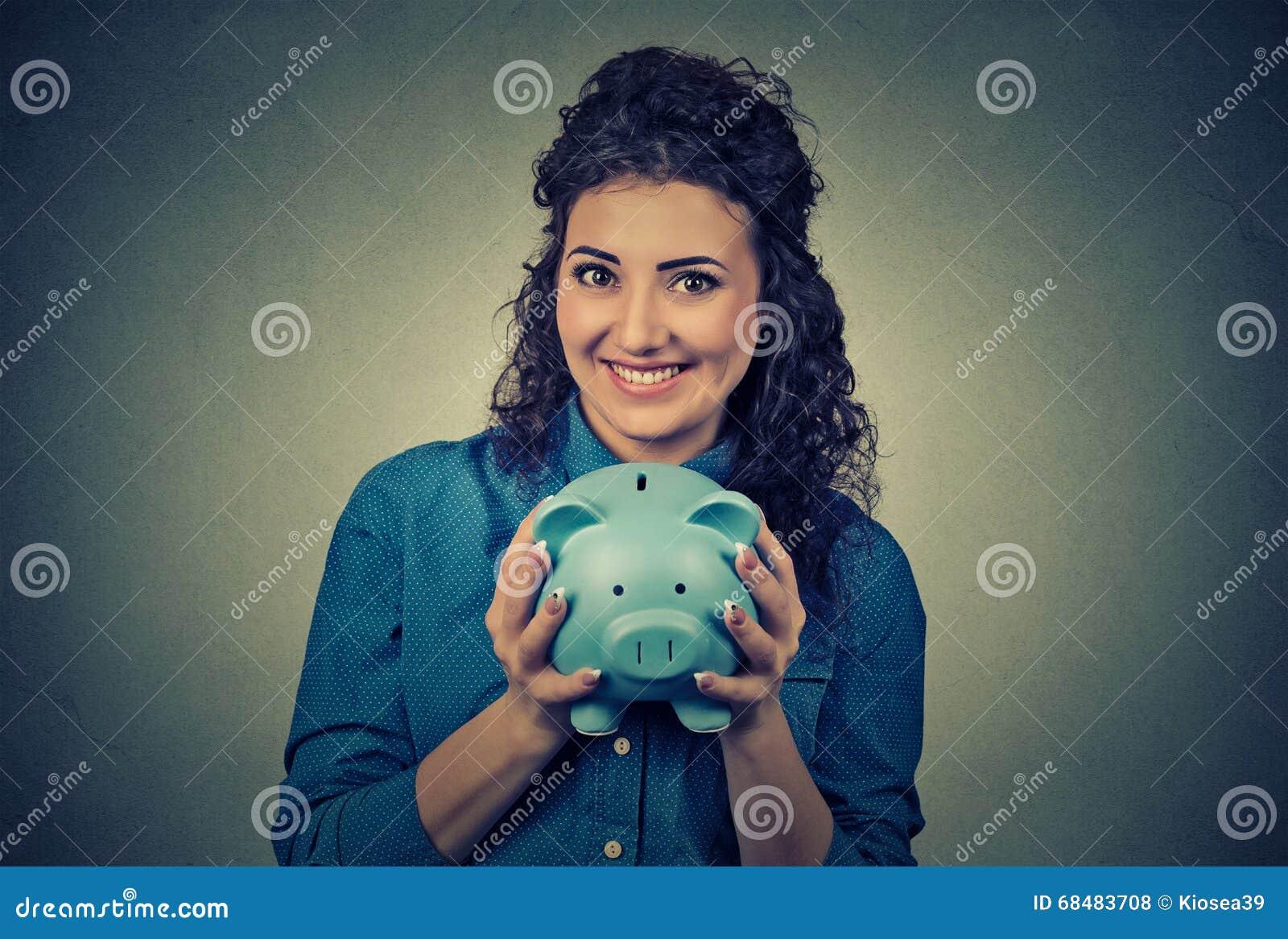 Frau mit Piggy Querneigung