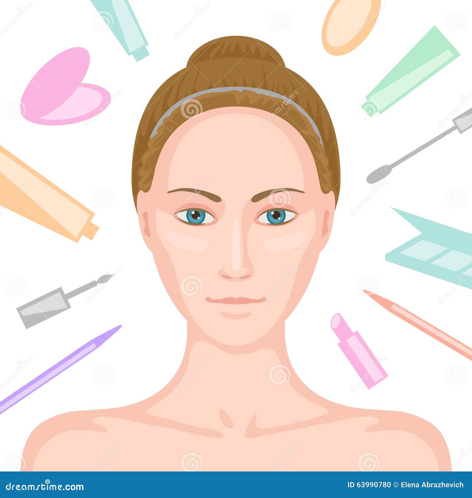 frau ohne make up und verschiedene kosmetik herum vektor abbildung bild 63990780. Black Bedroom Furniture Sets. Home Design Ideas
