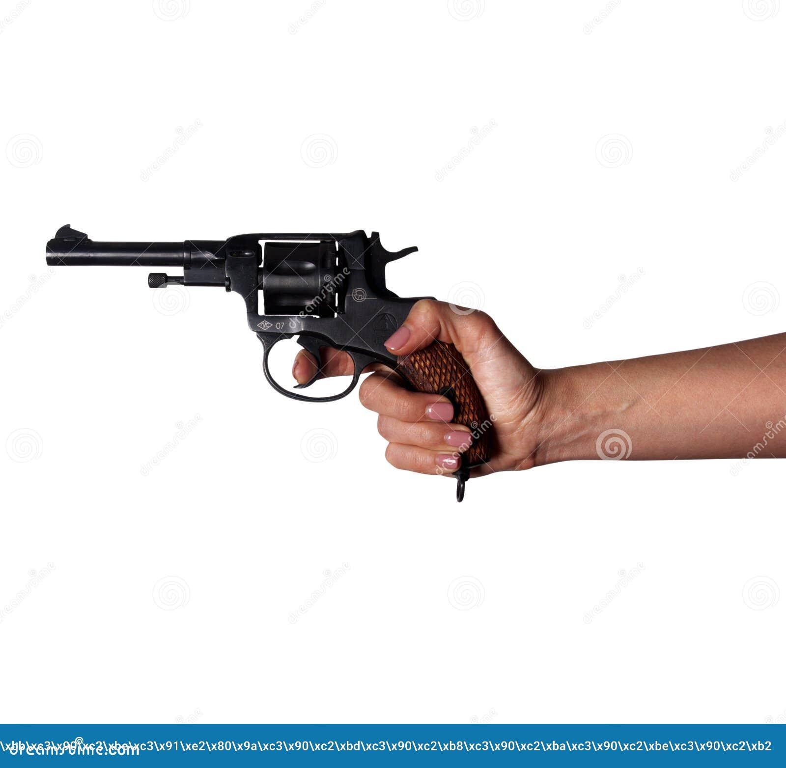 Frau ` s Hand mit einem Gewehr