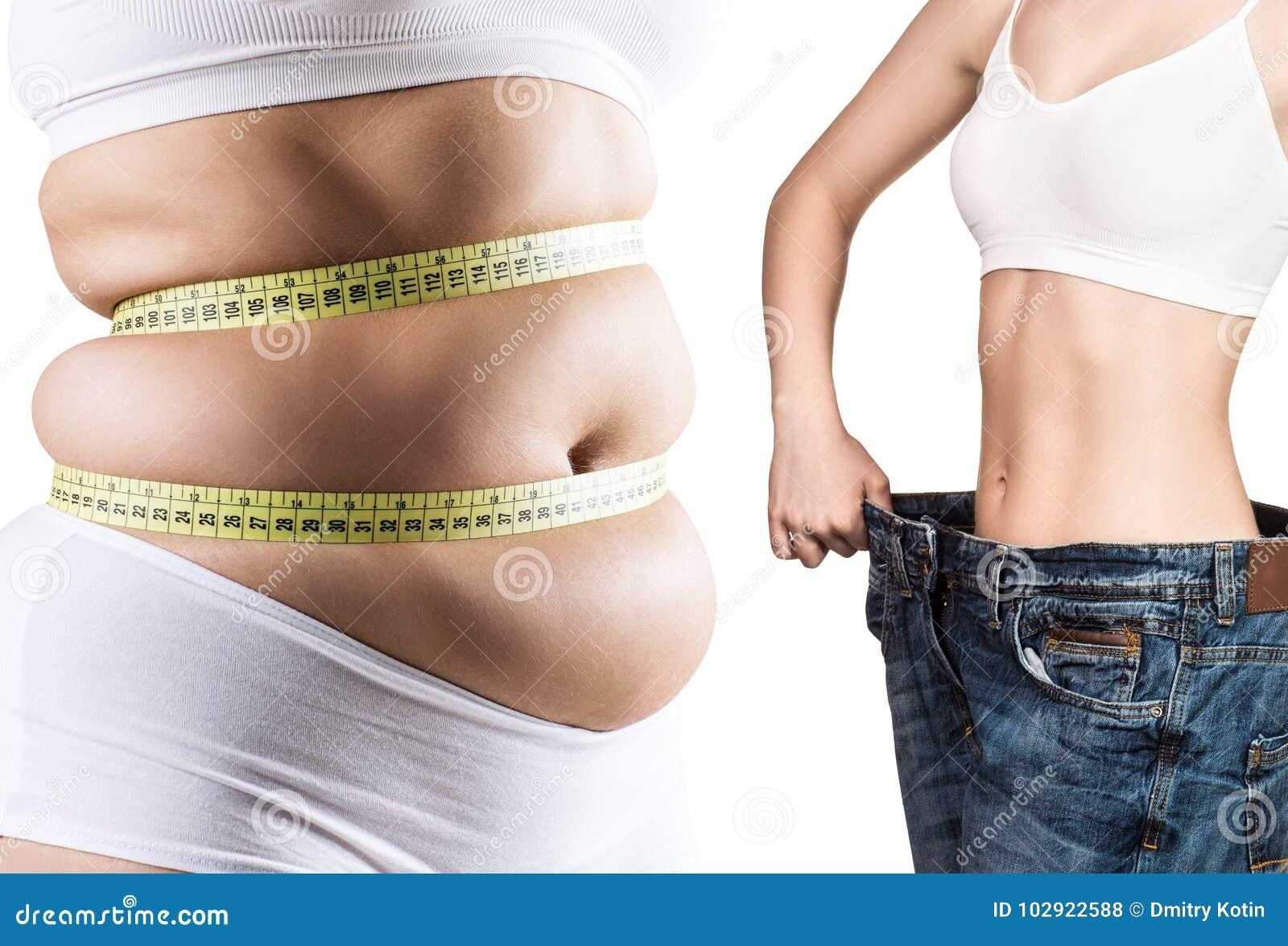 Frau ` s Körper vor und nach Gewichtsverlust