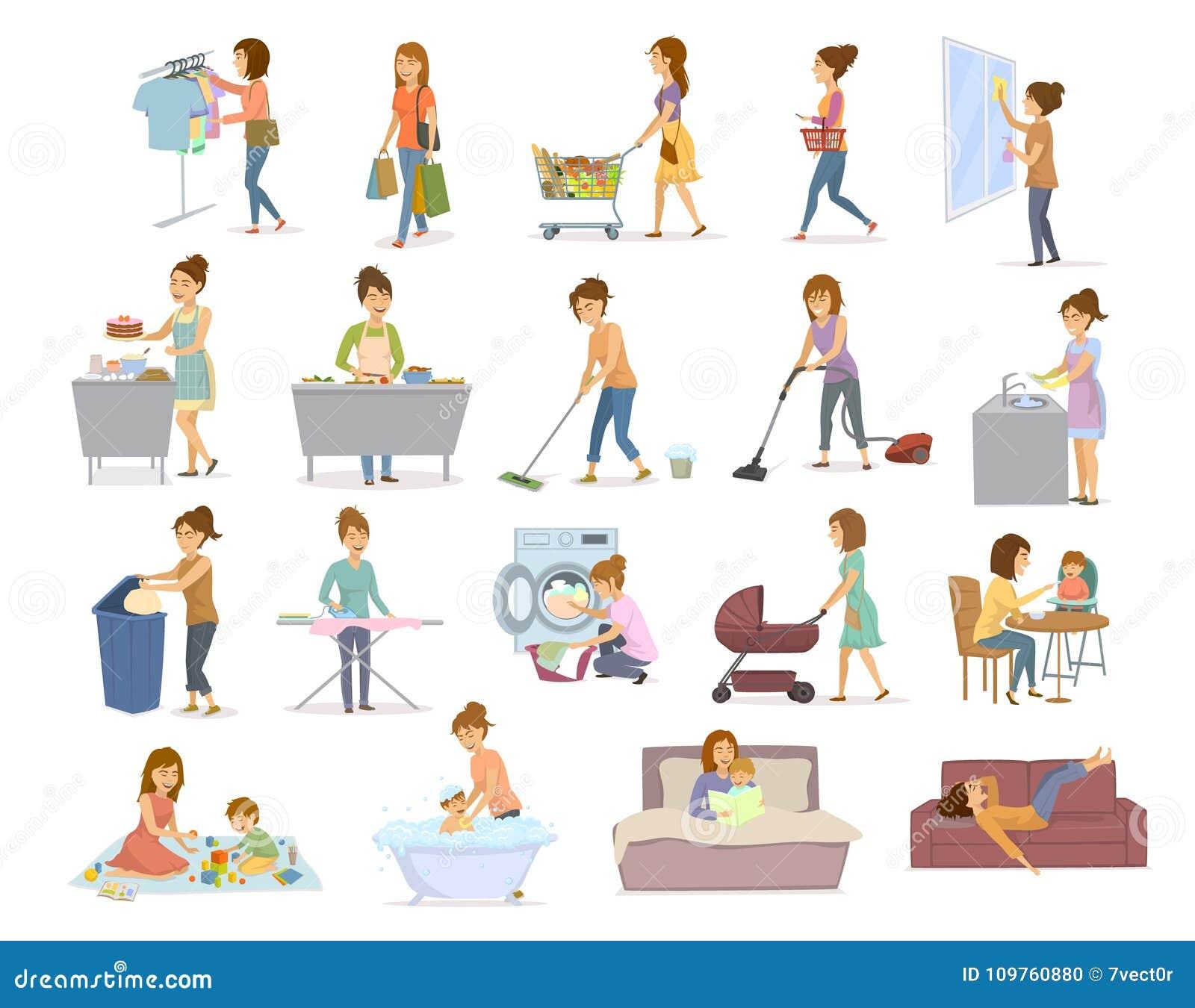 Frau steuert täglich Aufgaben, Haushaltung, househod Tätigkeiten wie das waschende Staub saugeneinkaufskochen mach s gut automati