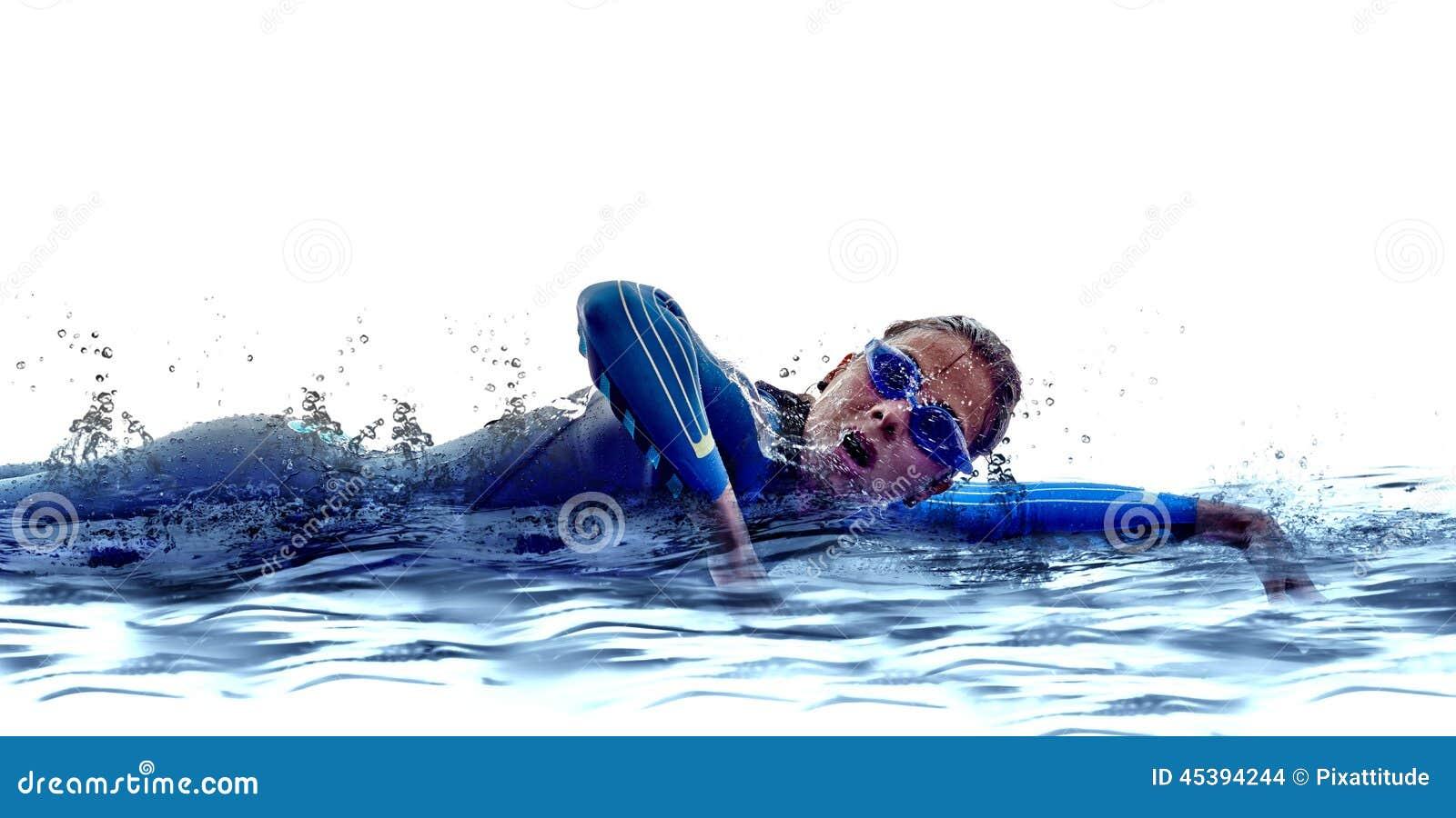 Frau Triathlon ironman Schwimmerathlet