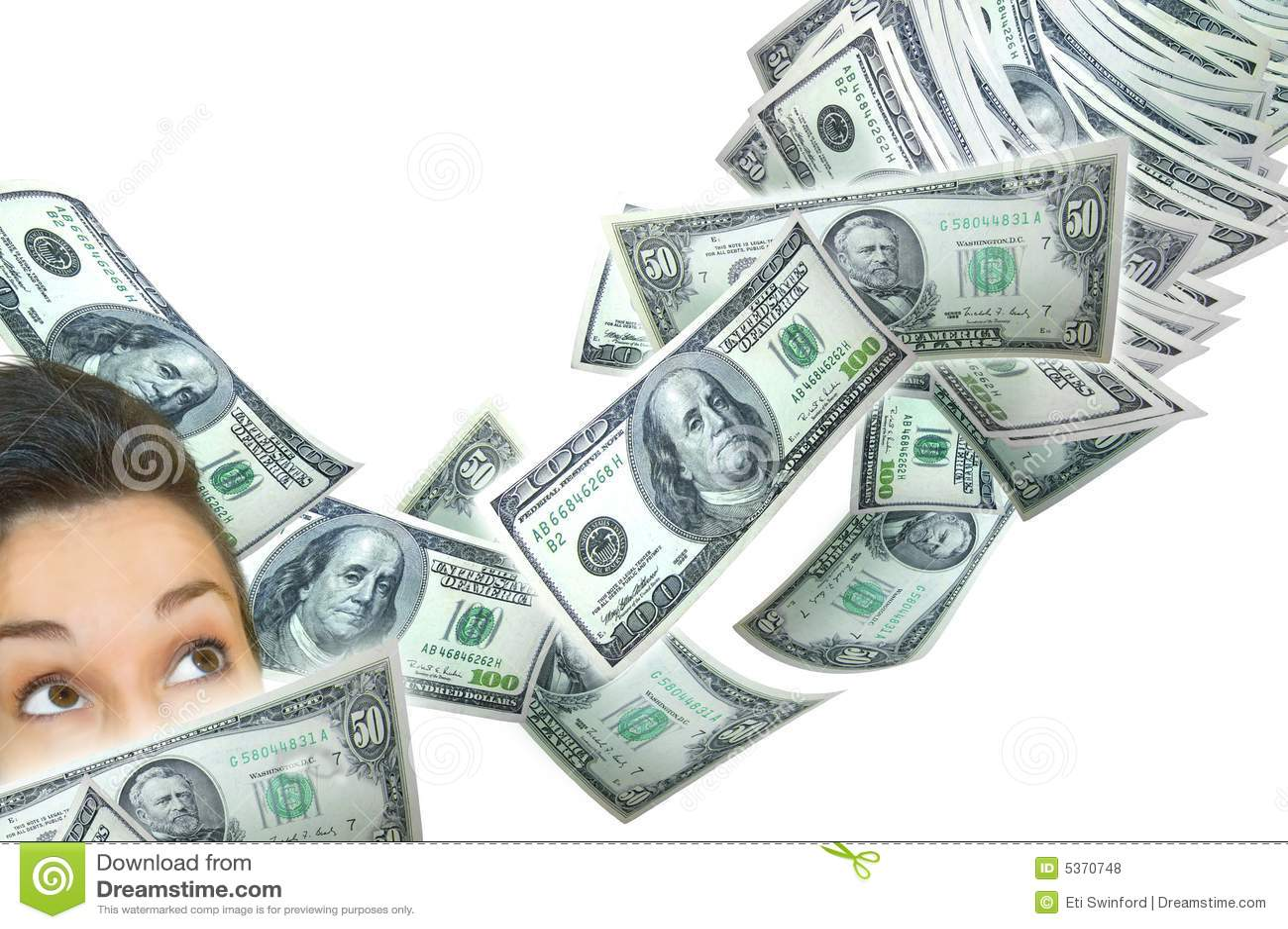 Frau und fallendes Geld