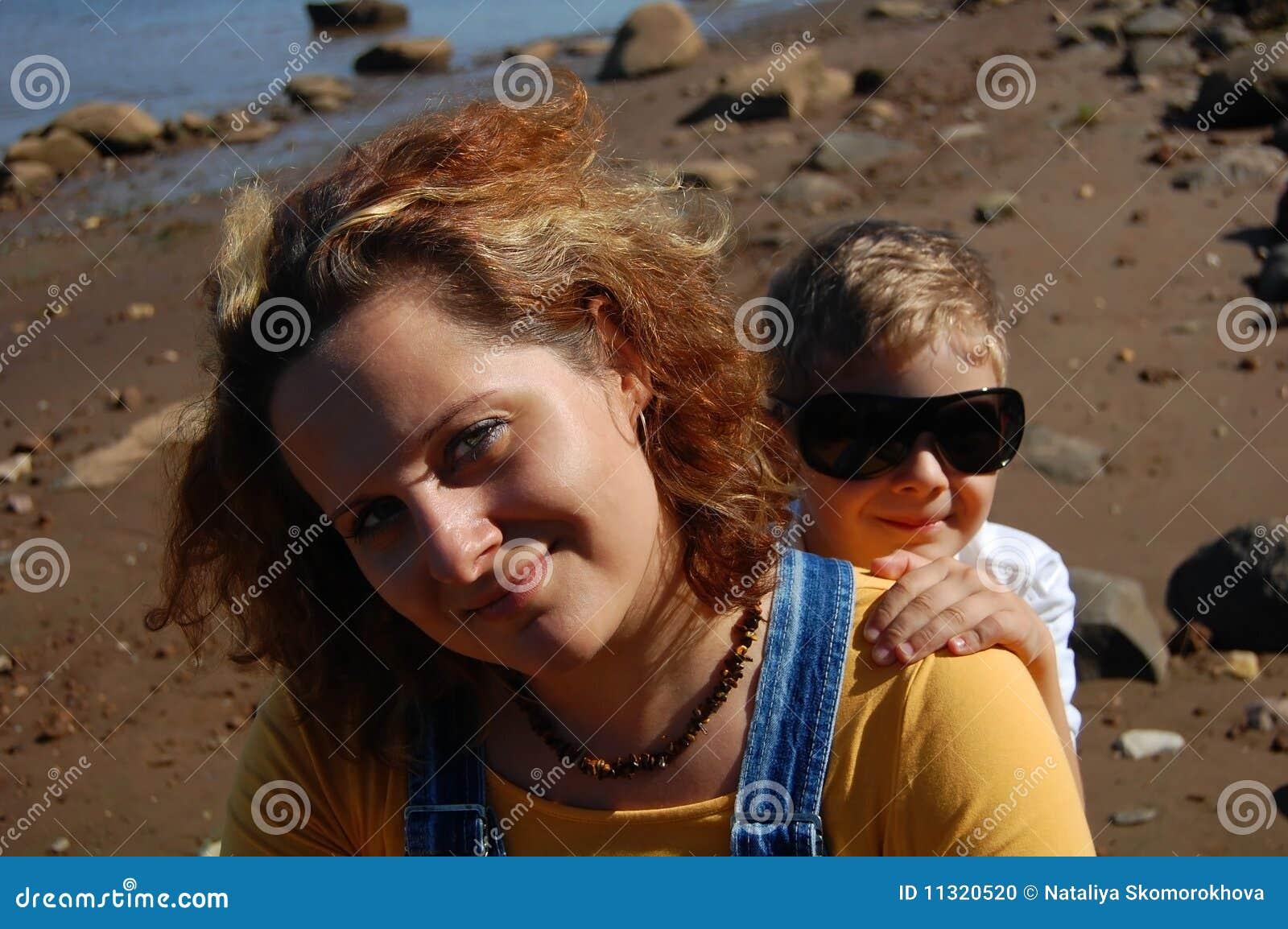 Frau und Junge