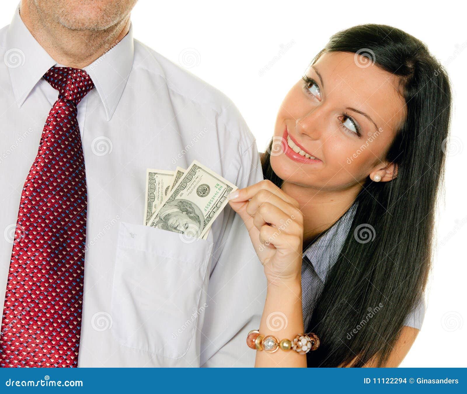 frau zieht einen mann das geld tasche dollar heraus stockbilder bild 11122294. Black Bedroom Furniture Sets. Home Design Ideas