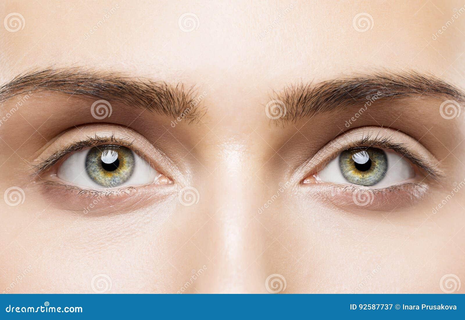 Frauen-Augen schließen oben, natürliches Make-up, junges Mädchen-Schönheits-Gesicht, Auge
