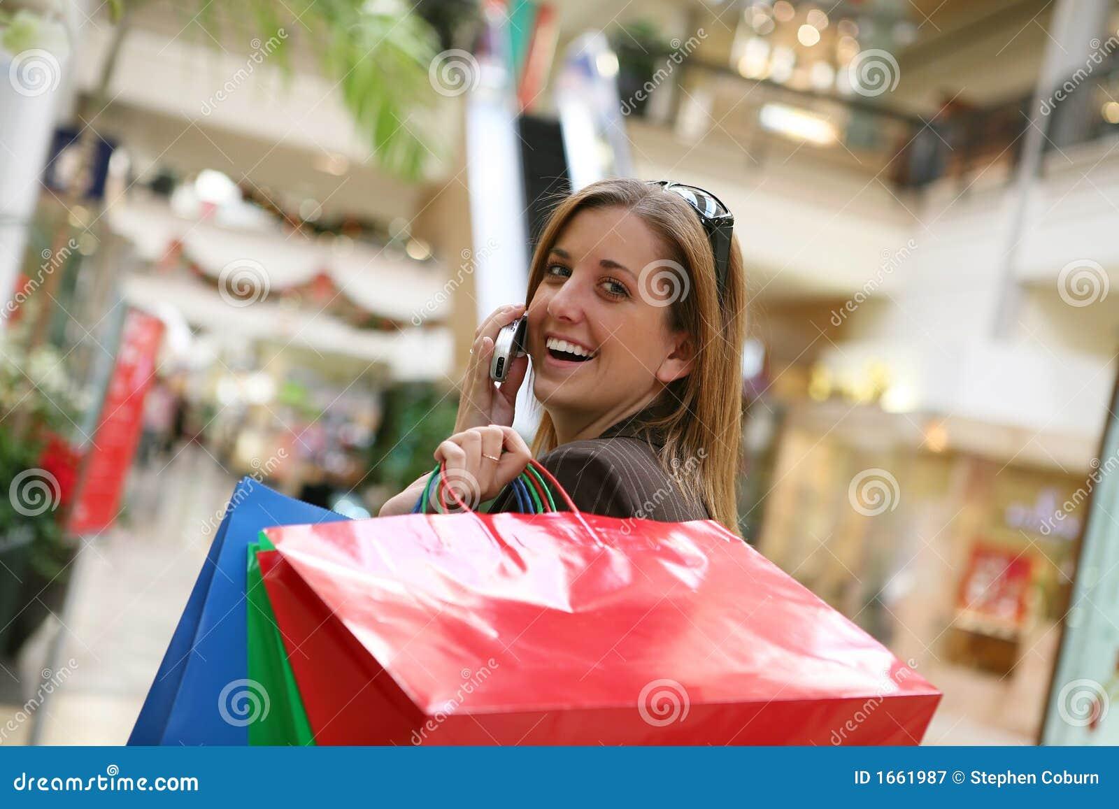 Frauen-Einkaufen stockbild. Bild von farbe, weihnachten
