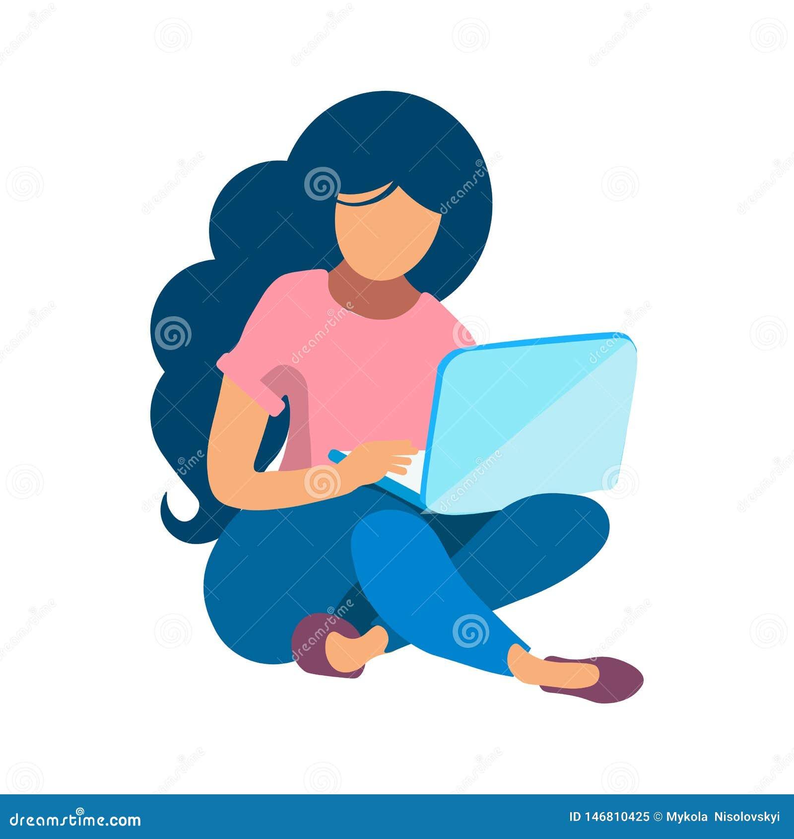 Frauen-Funktion mit Laptop-flacher Farbillustration