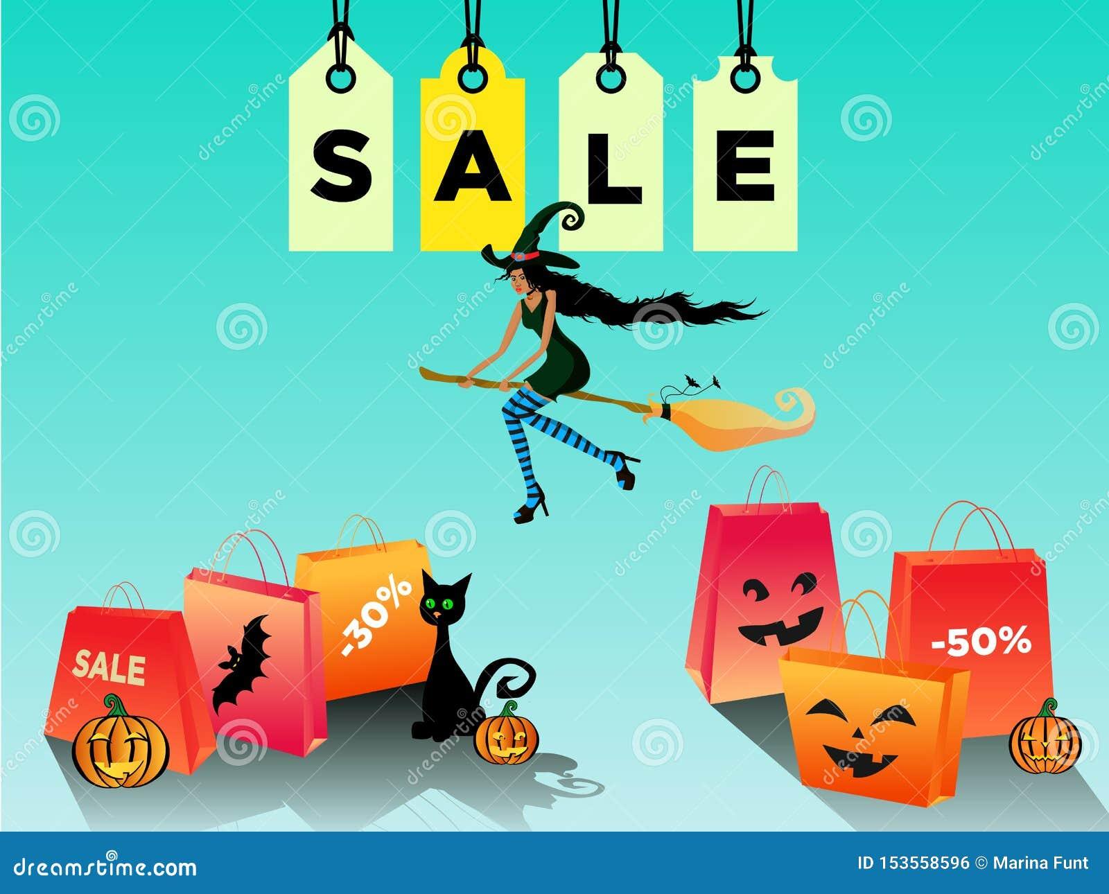 Frauen-Halloween-Verkauf, Rabatt mit einem schönen blackskin Hexenfliegen auf einem Besenstiel Vektorabbildung ENV 10