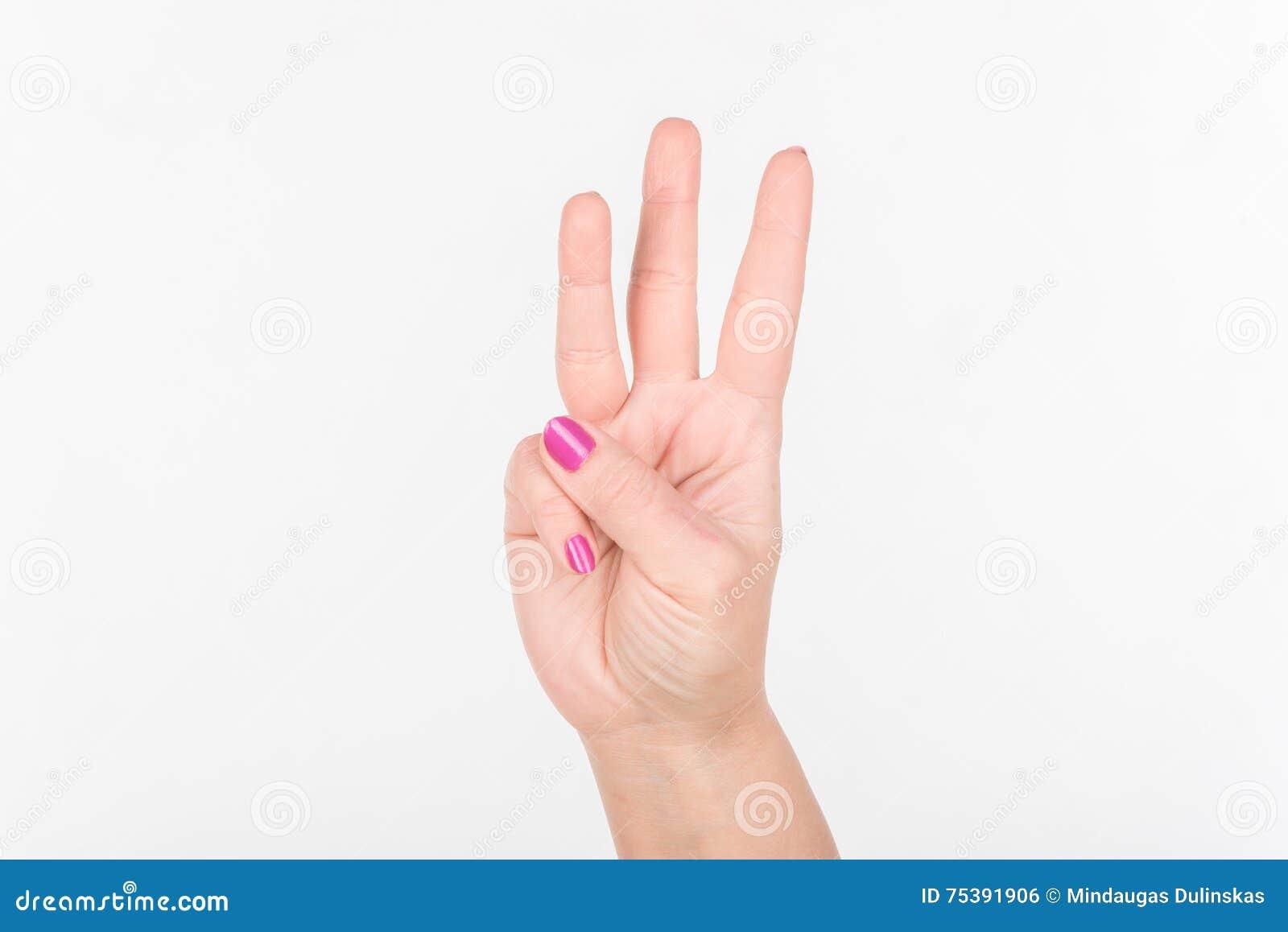 Frauen-Hand Mit Den Polnischen Fingern Der Nagel-Show-drei Weißes ...