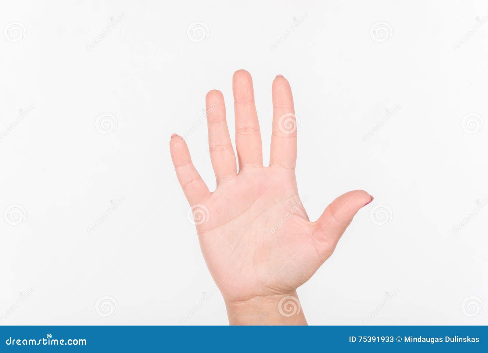 Frauen-Hand Mit Den Polnischen Fingern Der Nagel-Show-fünf Weißes ...