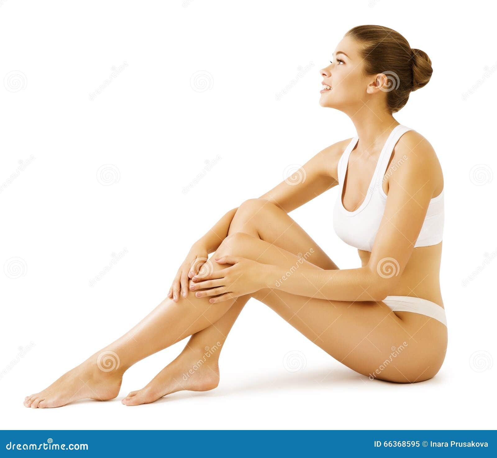 Frauen-Körper-Schönheit, vorbildliches Girl Sitting in der weißen Unterwäsche