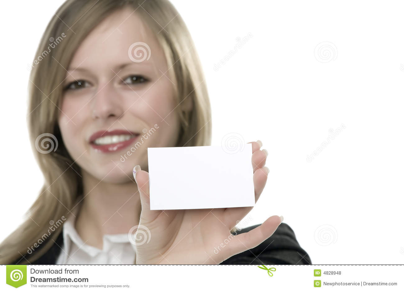 Frauen mit Visitenkarte in der Hand