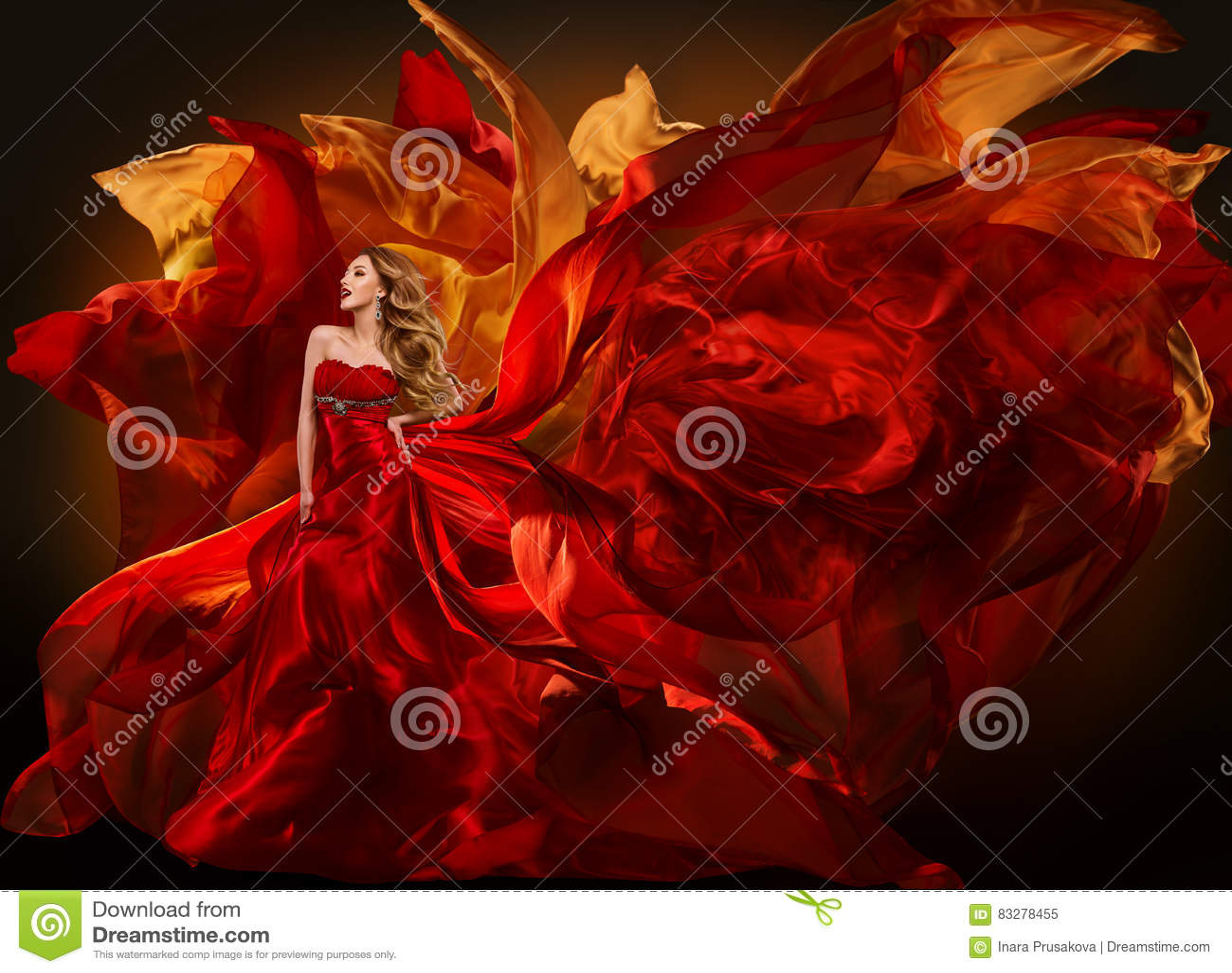 Frauen-Mode-Kleid, das rotes Gewebe, Mädchen-wellenartig bewegenden Silk Stoff fliegt
