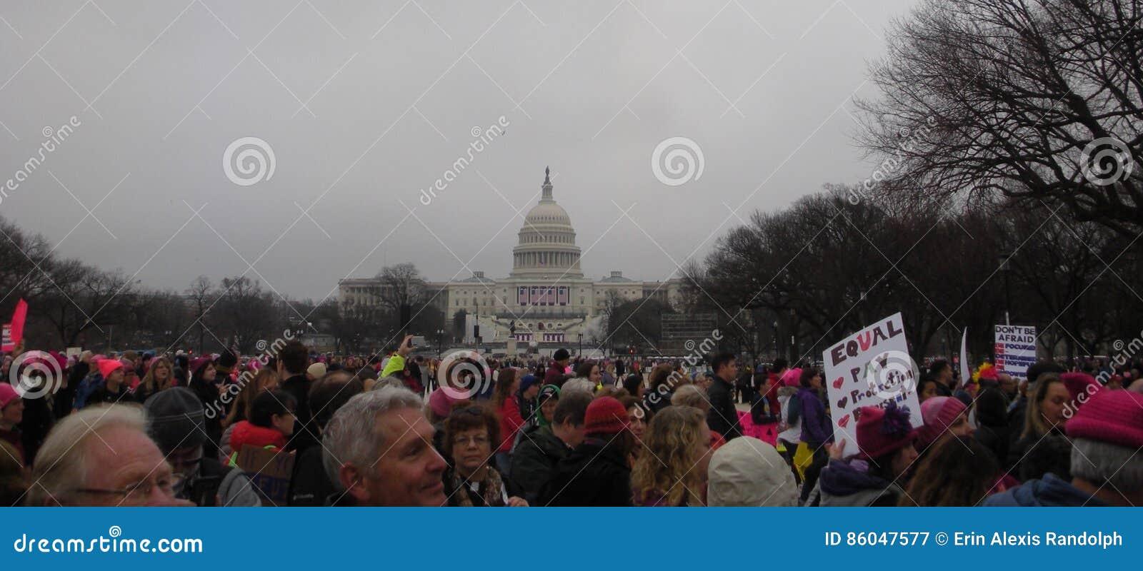 Frauen ` s März, Protest drängt sich auf dem nationalen Mall, Klerus beim März, Washington, DC, USA