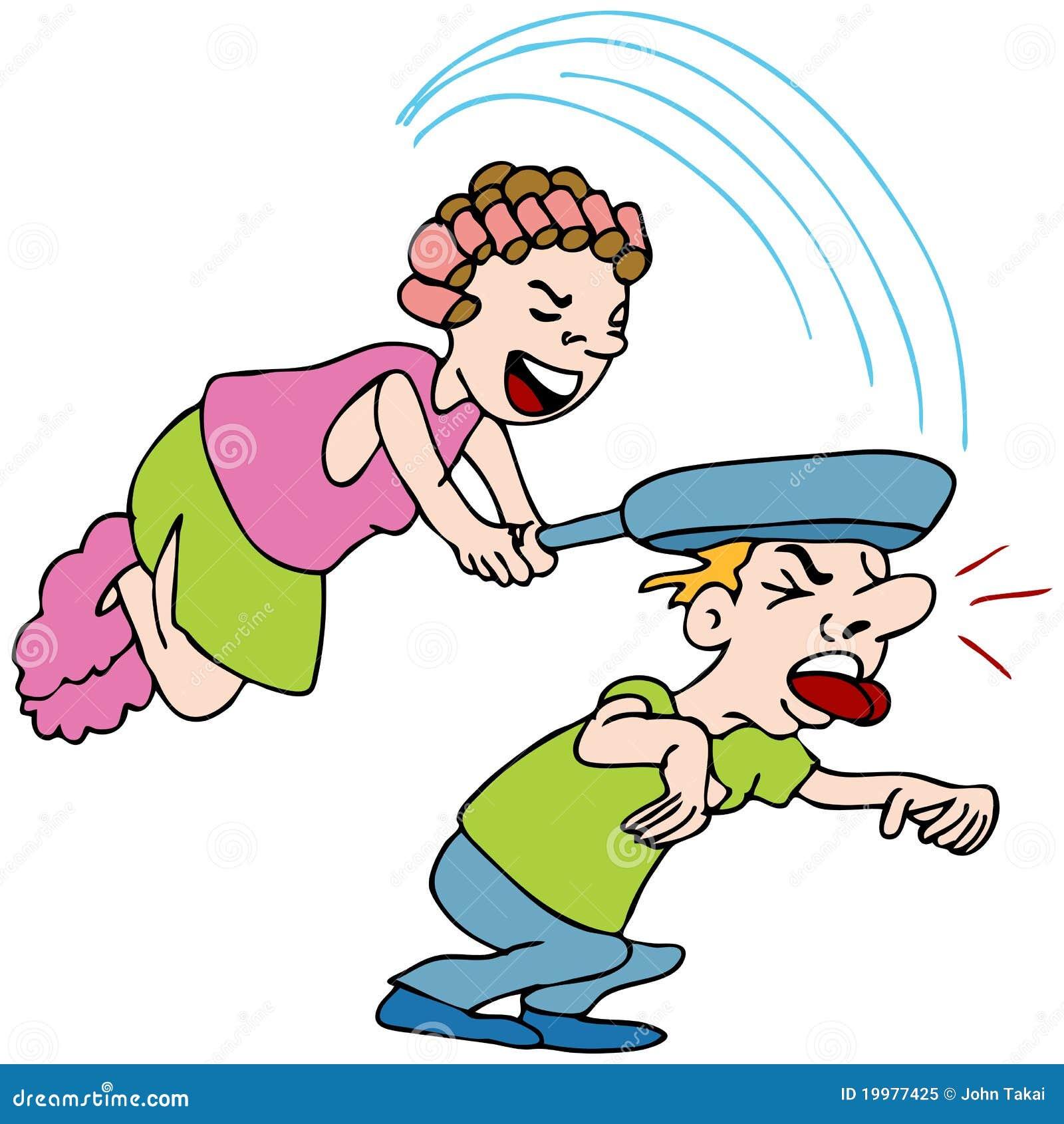 Frauen-schlagender Mann Mit Bratpfanne Vektor Abbildung