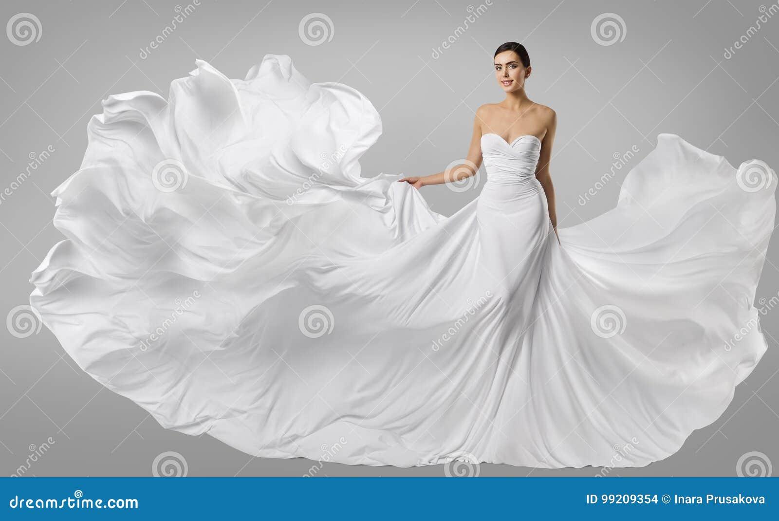 Frauen-weißes Kleid, Mode-Modell Im Langen Silk Kleid, Wellenartig ...