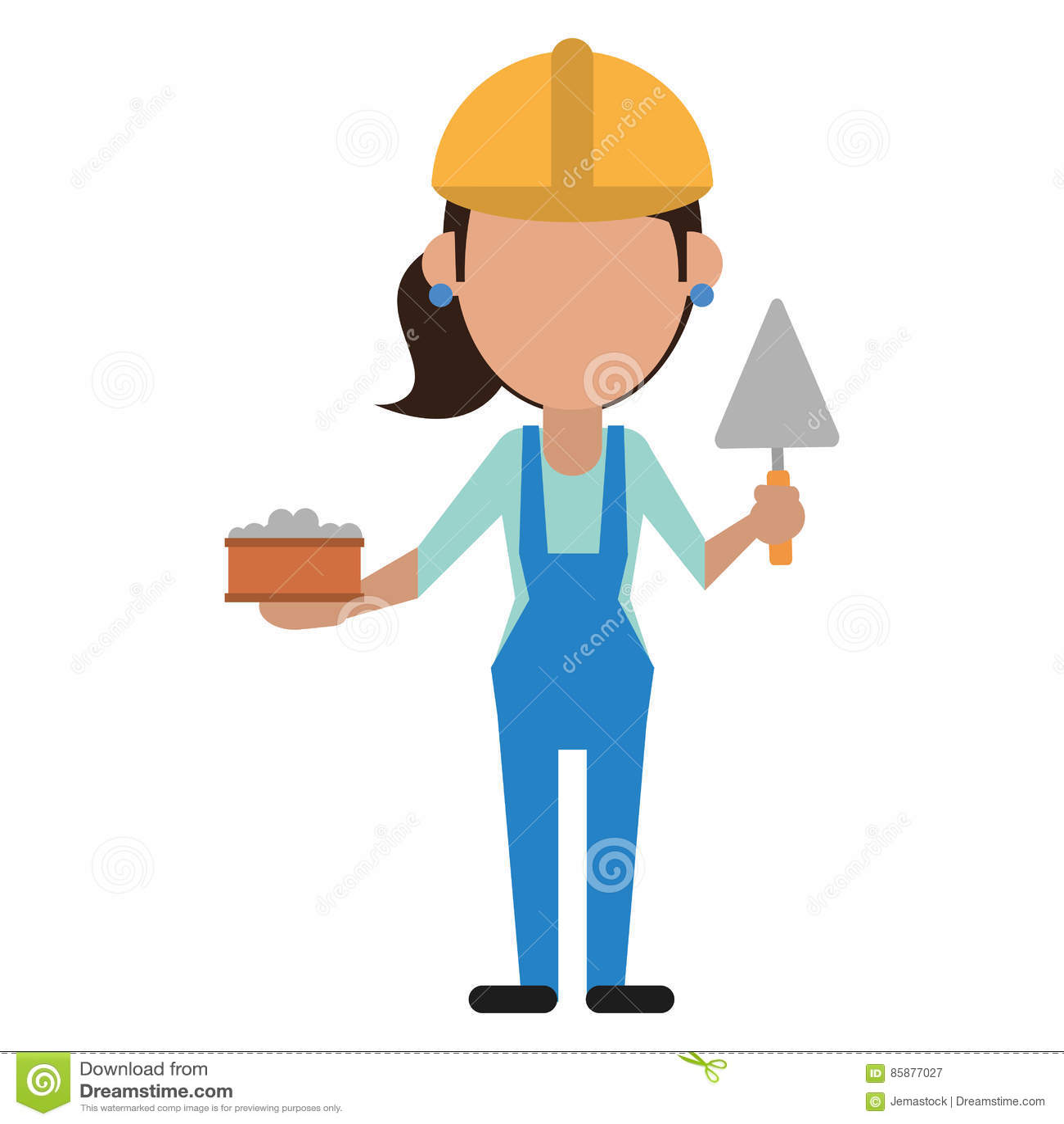 Frauenbau mit Ziegelstein und Spachtel