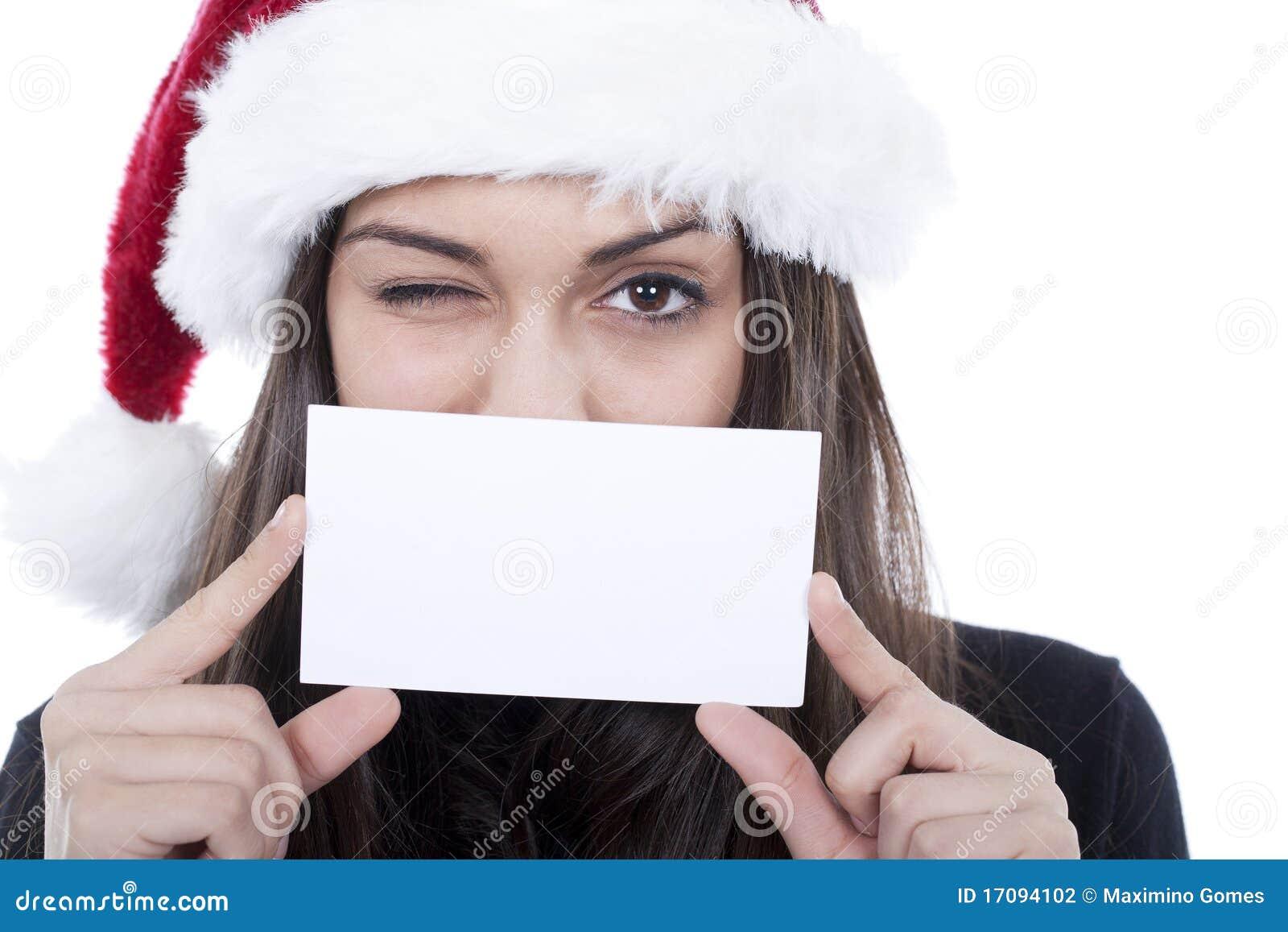 Frauenblinkenauge mit einer Anschlagtafelkarte