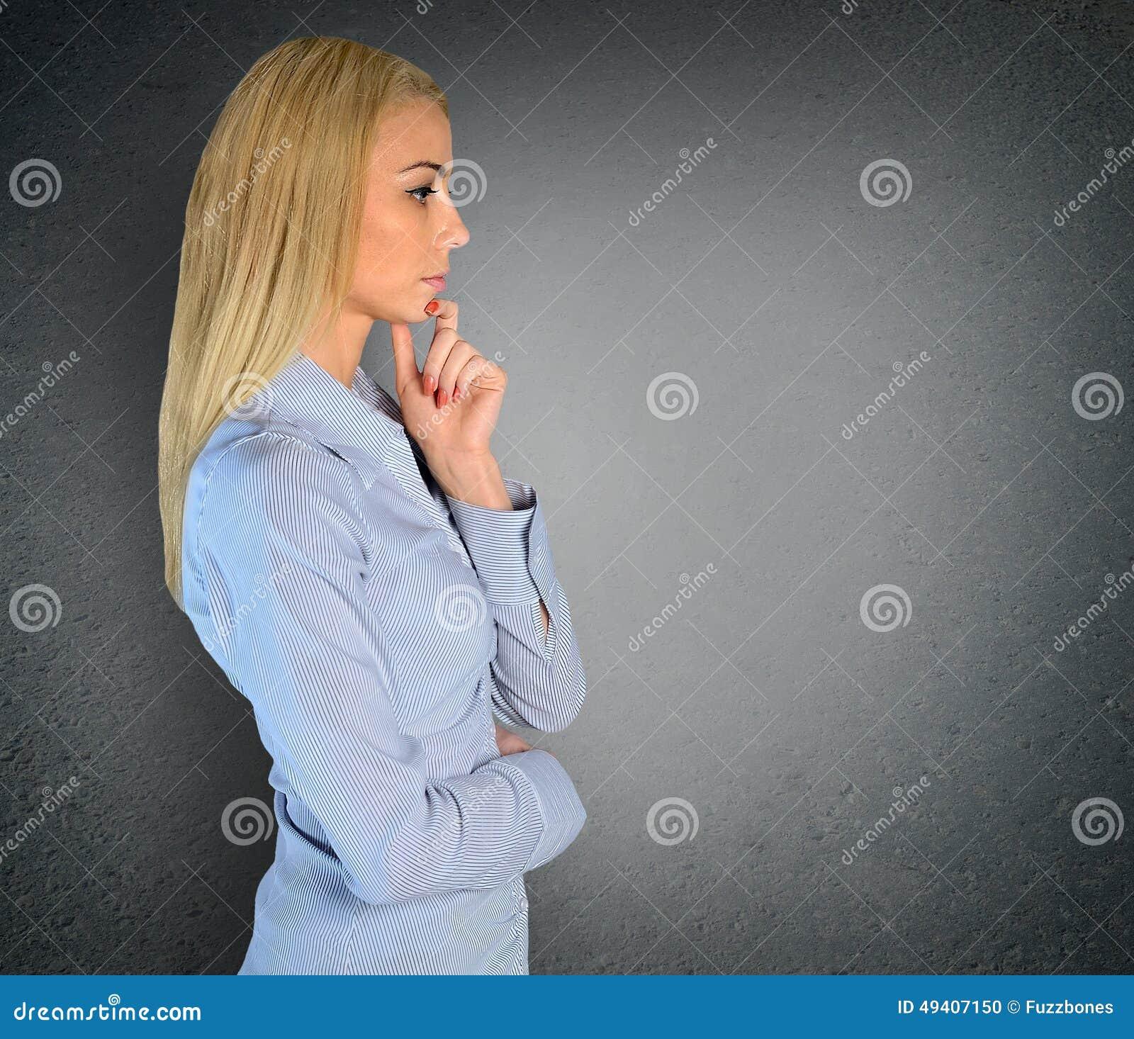 Download Frauendenken stockfoto. Bild von person, schönheit, gesicht - 49407150