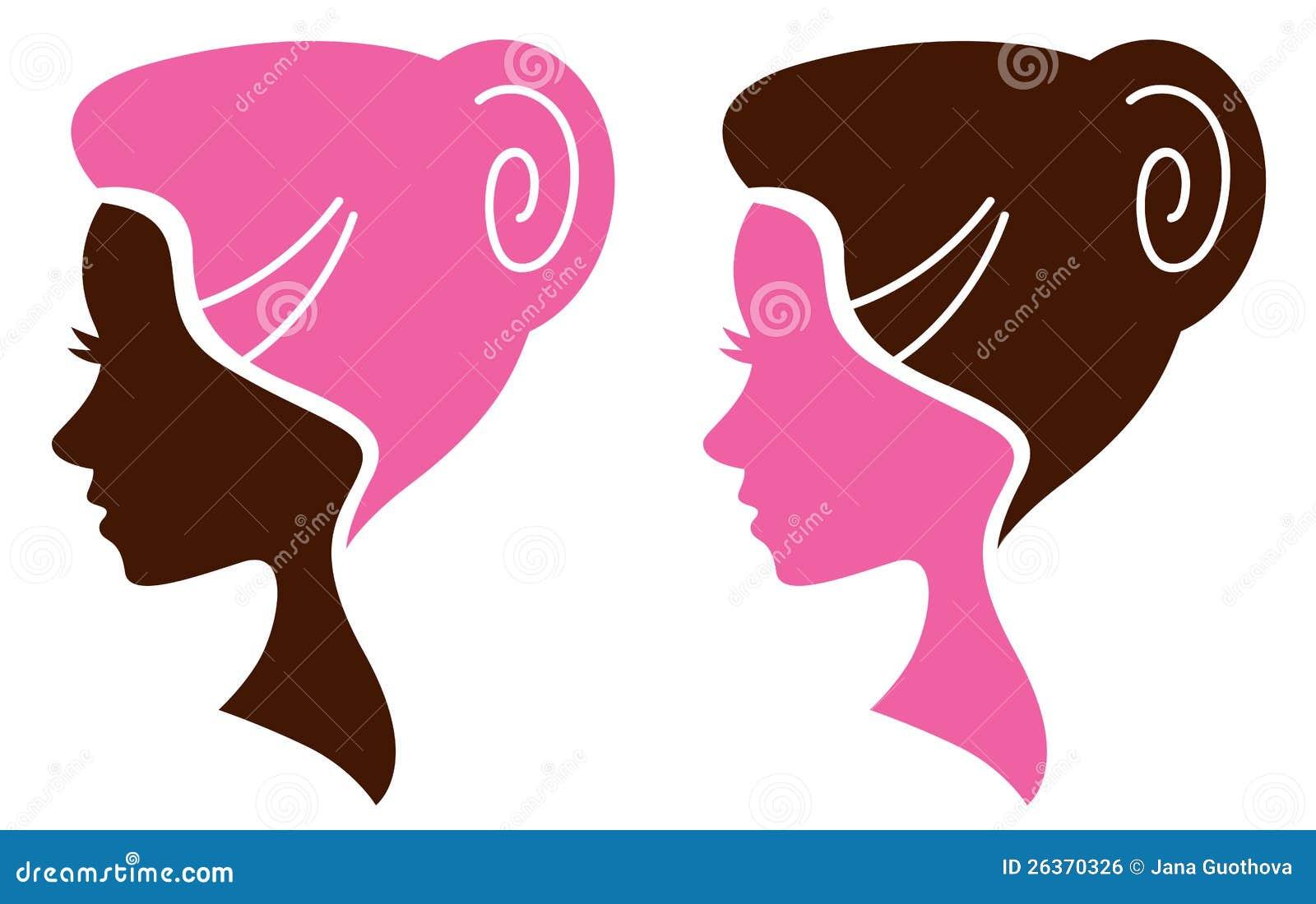 Frauengesichtsschattenbild eingestellt - Rosa und Braun