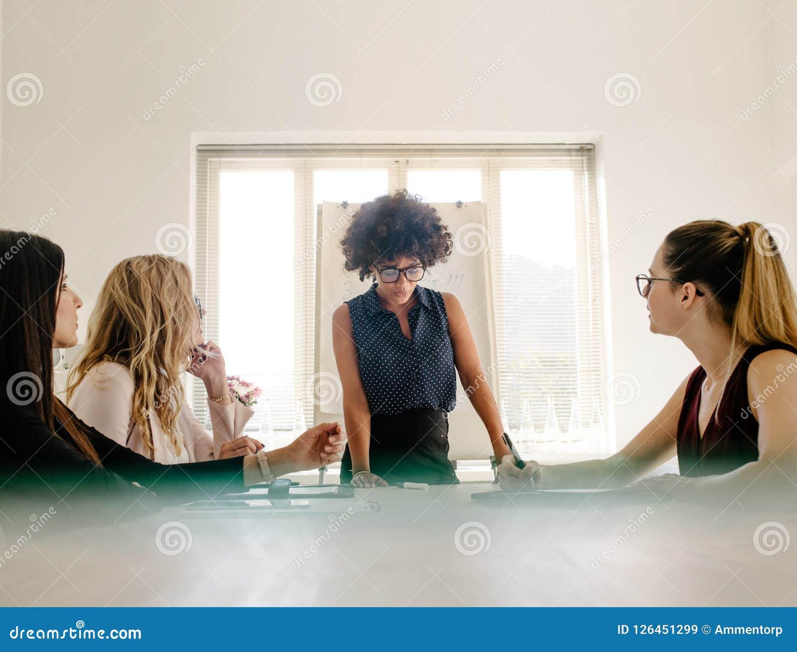 Frauengruppe, die eine Sitzung im Sitzungssaal hat