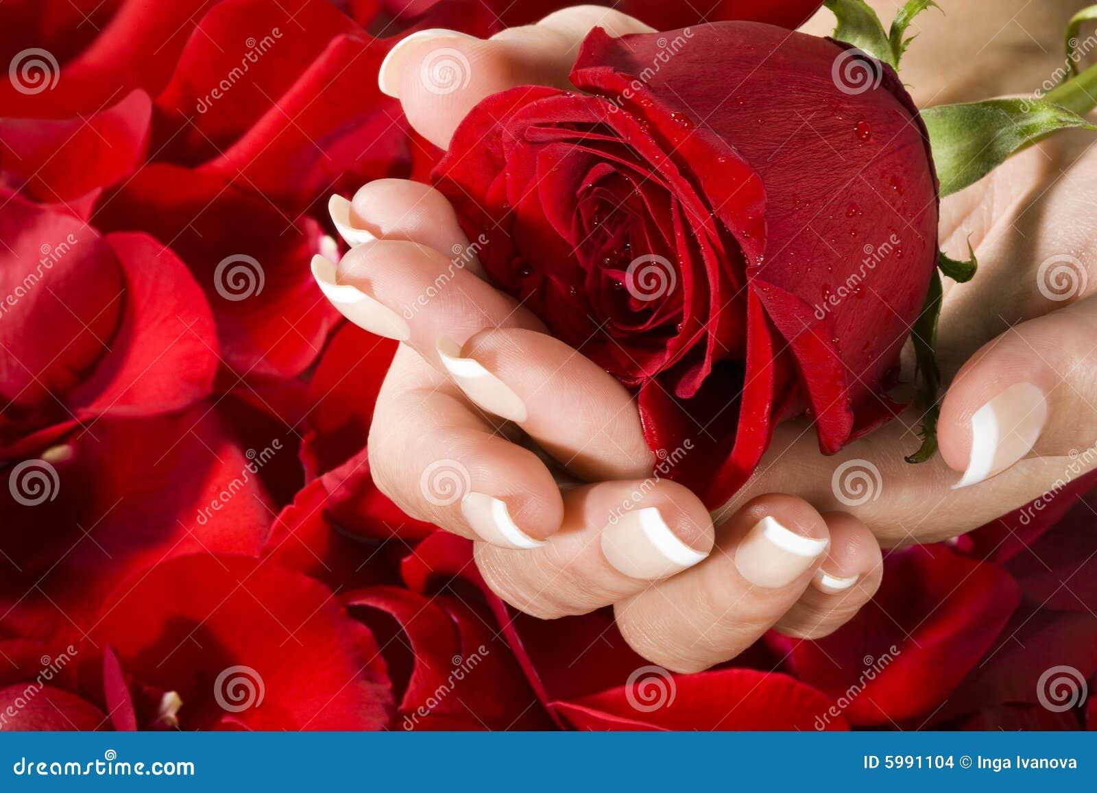 Frauenhände mit Rot stiegen