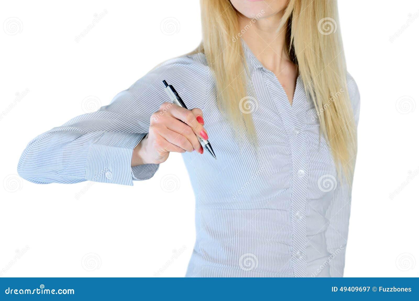 Download Frauenschreiben etwas stockbild. Bild von geschäft, person - 49409697