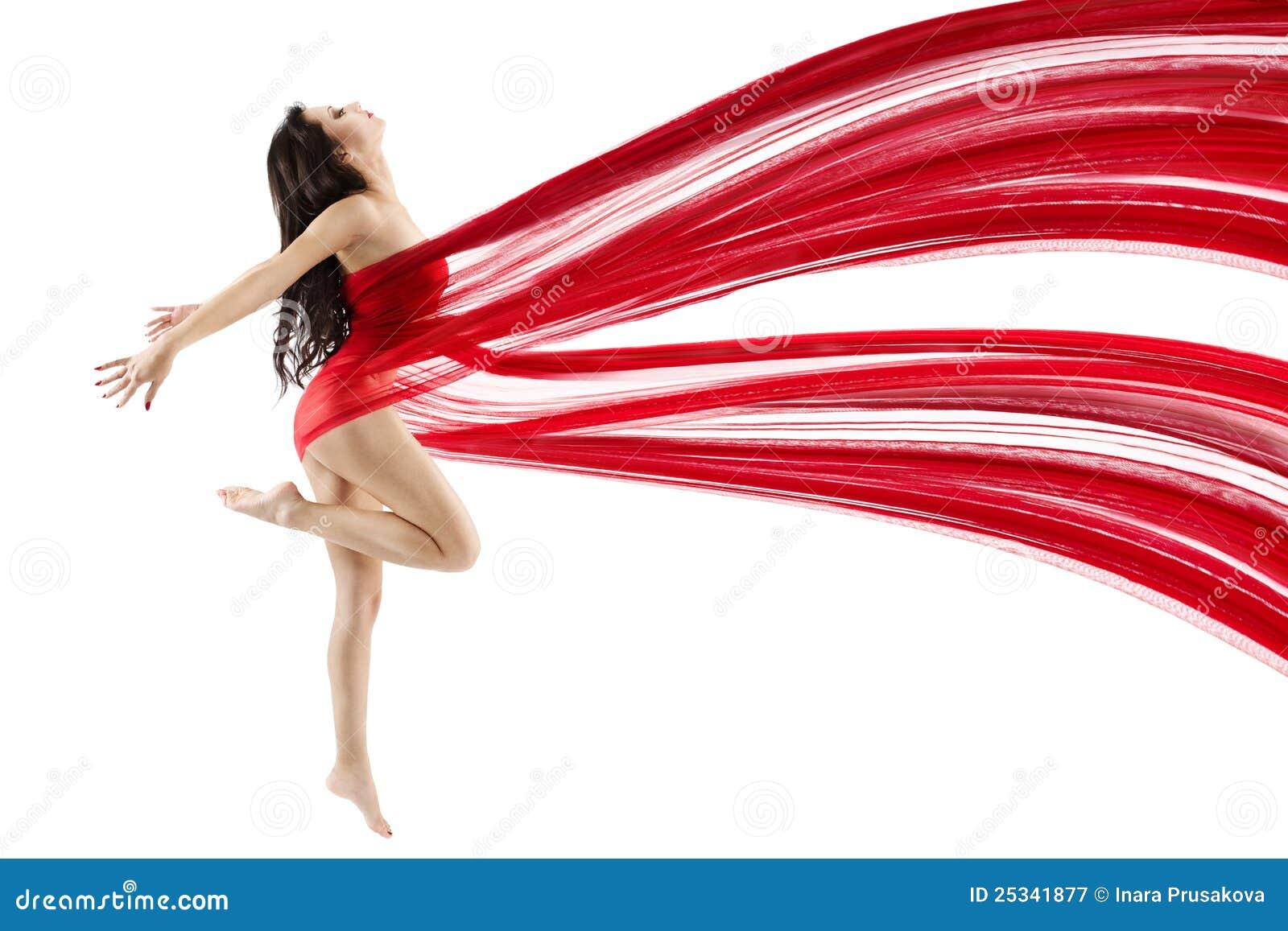 Frauentanzen mit dem roten Flugwesen, das Chiffon- Tuch wellenartig bewegt