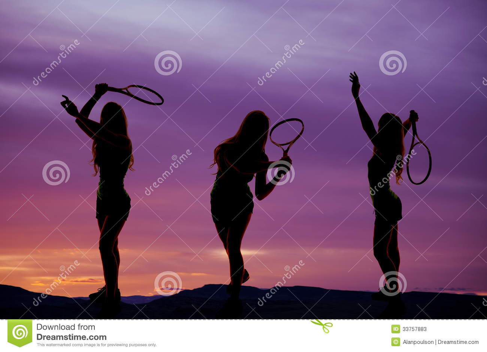 Frauentennisschattenbild drei
