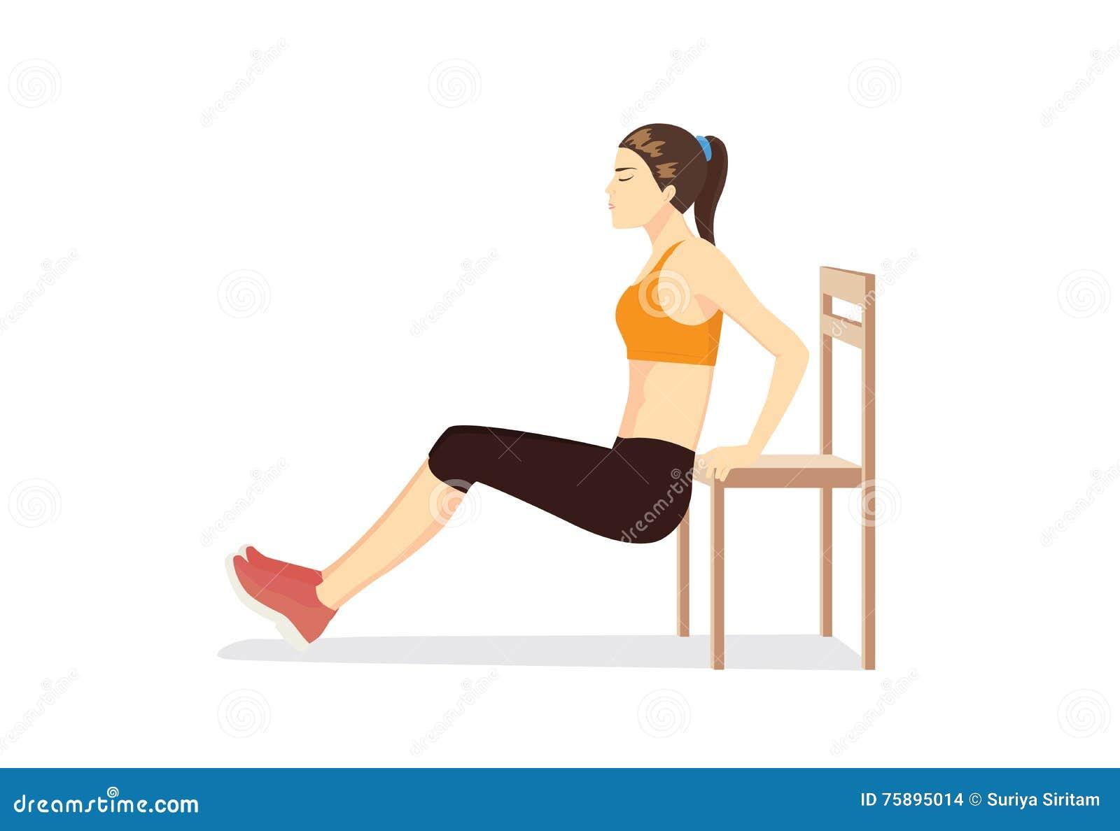 Frauentraining mit Stuhl für das Körperfest machen