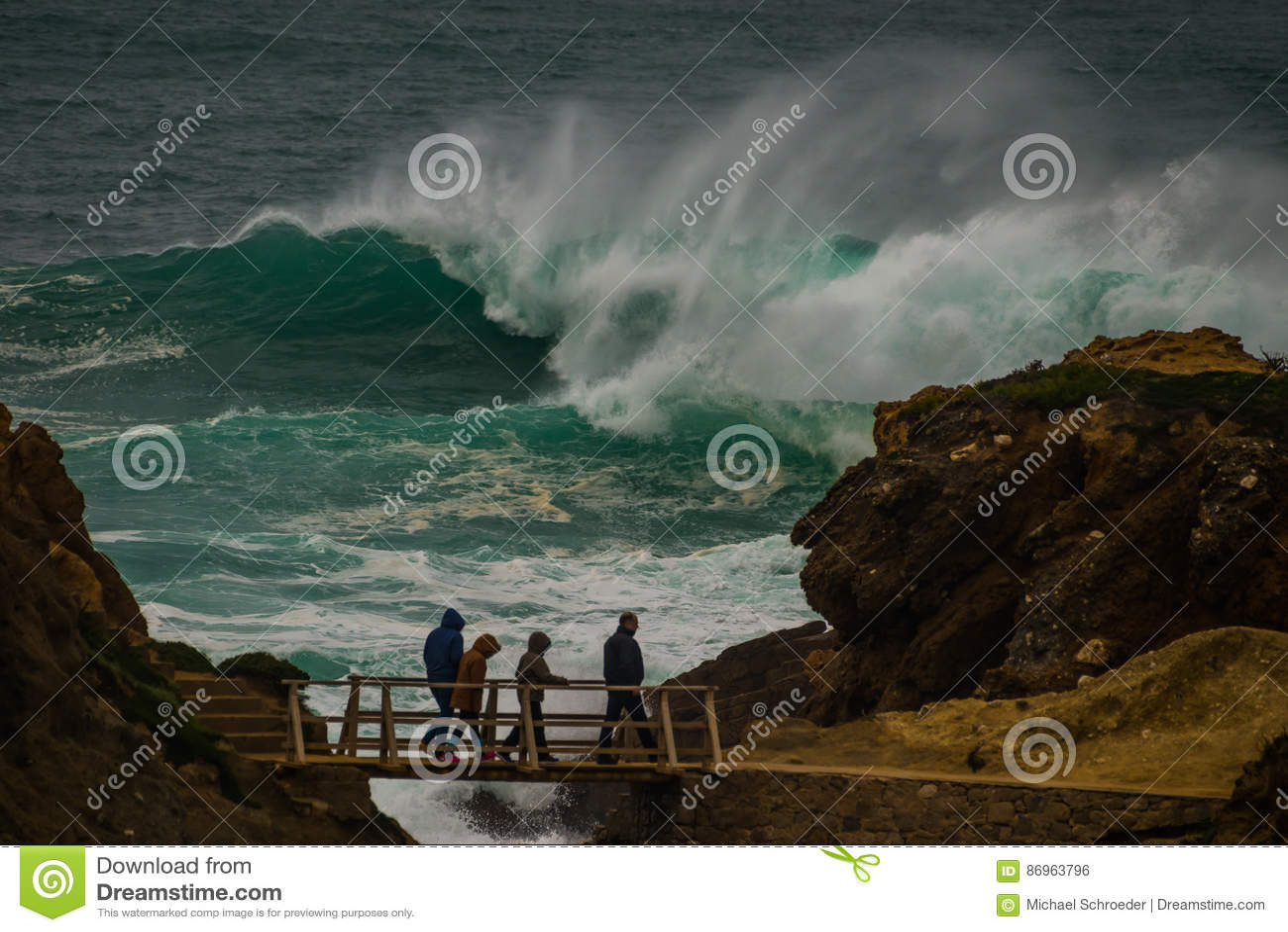 Freak wave at the coastline in Portugal