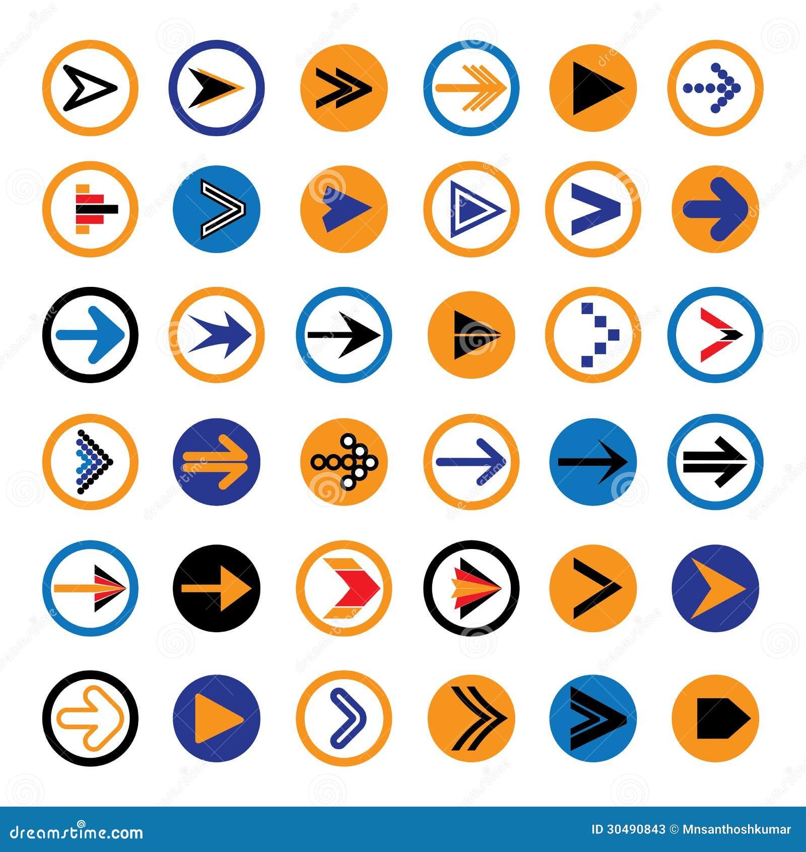 Frecce astratte piane nelle icone dei cerchi, illustrazione di simboli