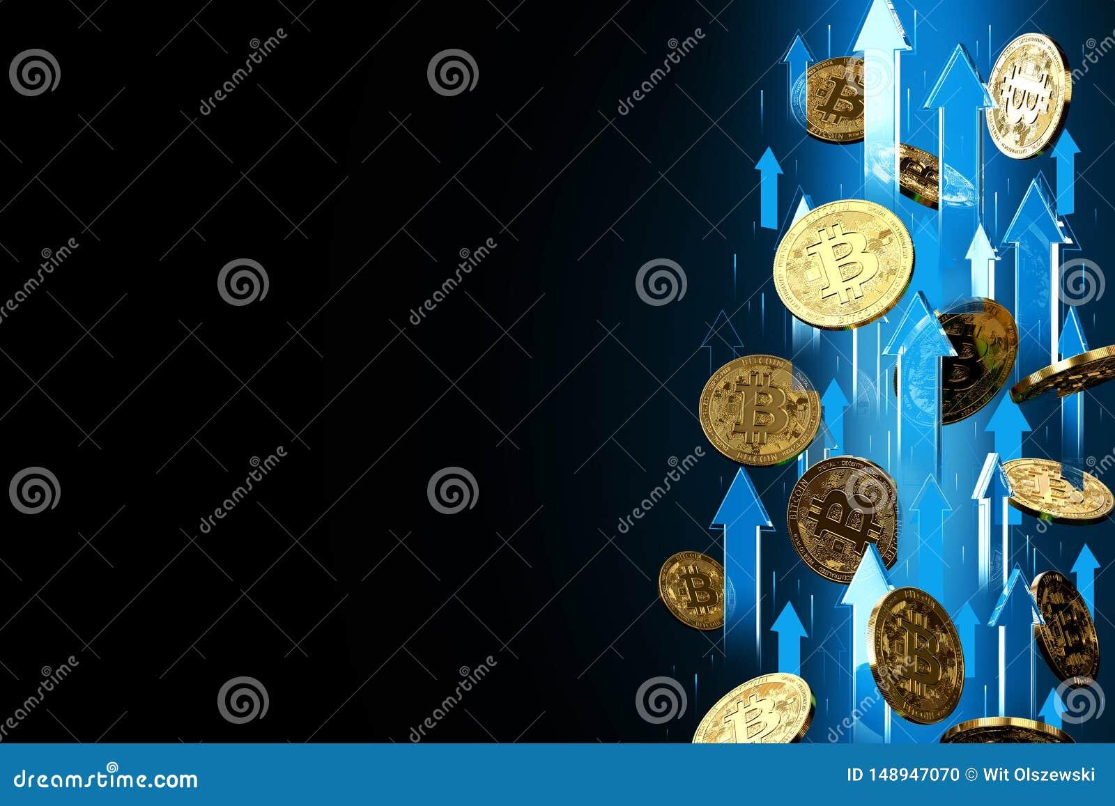 Frecce blu che indicano su come aumenti di prezzi di Bitcoin BTC Isolato su fondo nero, spazio della copia I prezzi di Cryptocurr