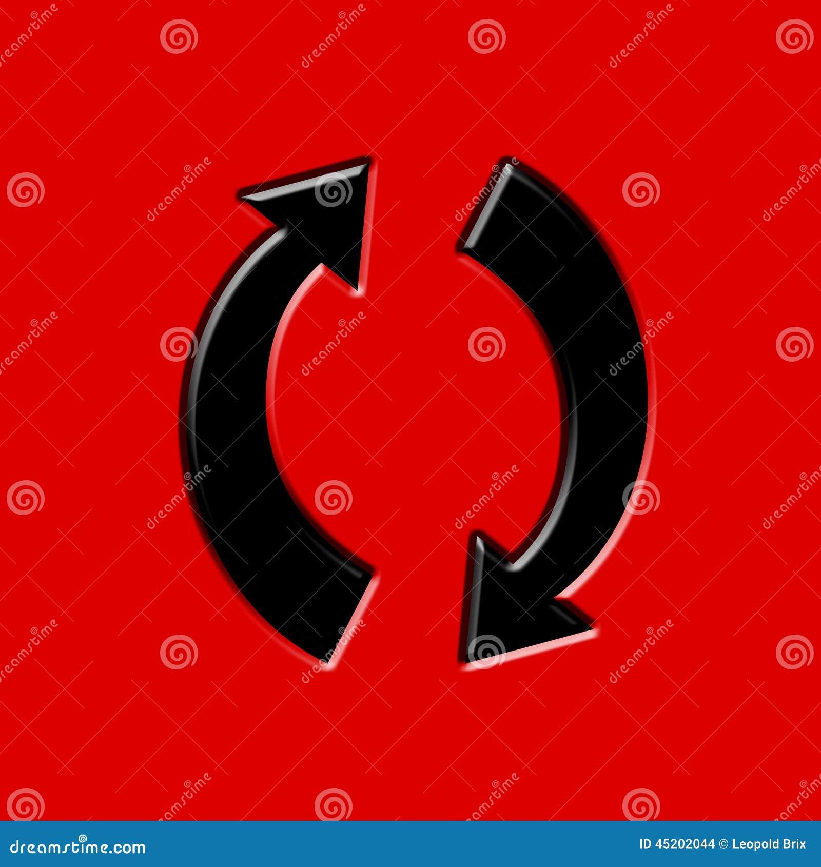 Frecce Circolari Nere Su Fondo Rosso Illustrazione Di Stock